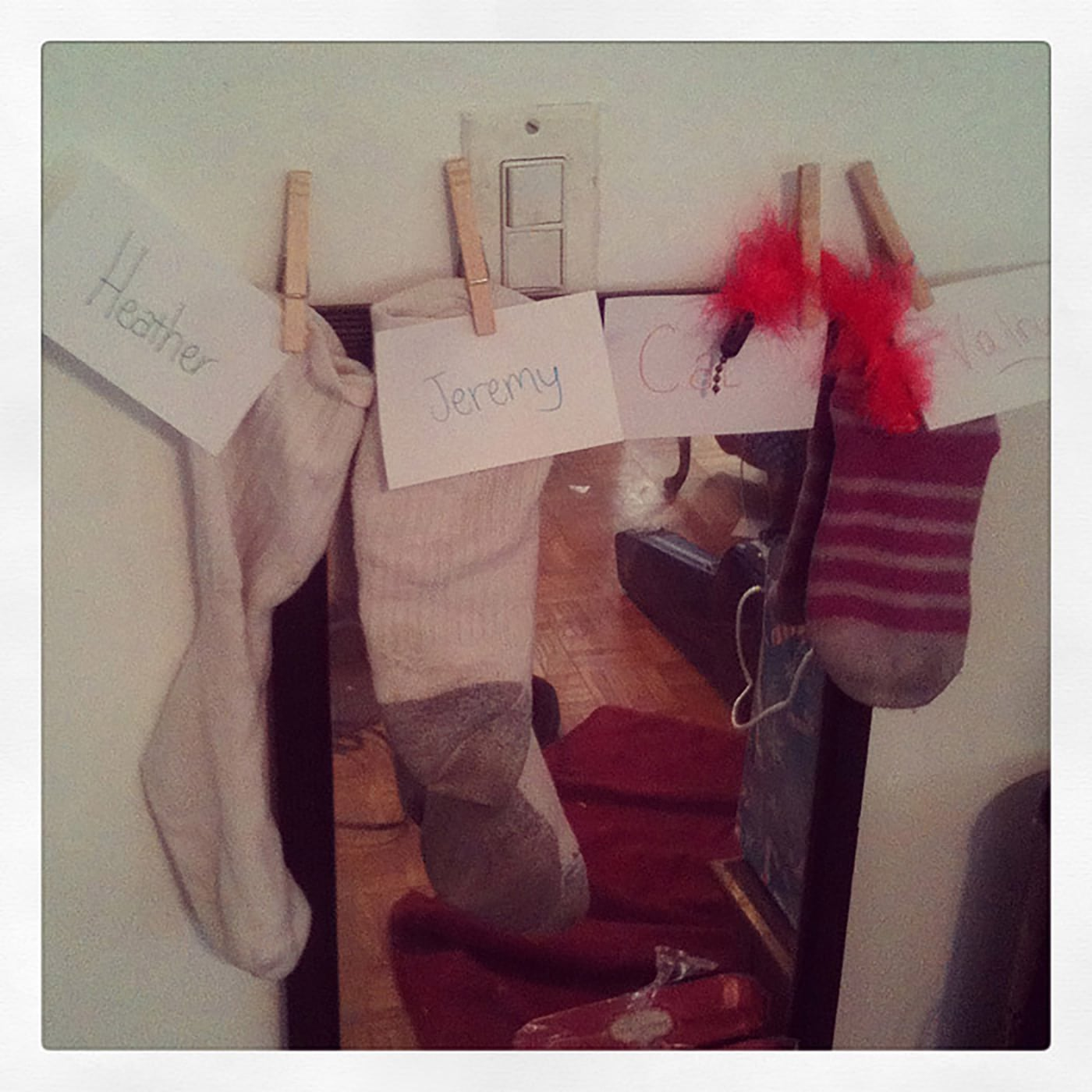 All our mismatched stockings were hung by the mirror with care...