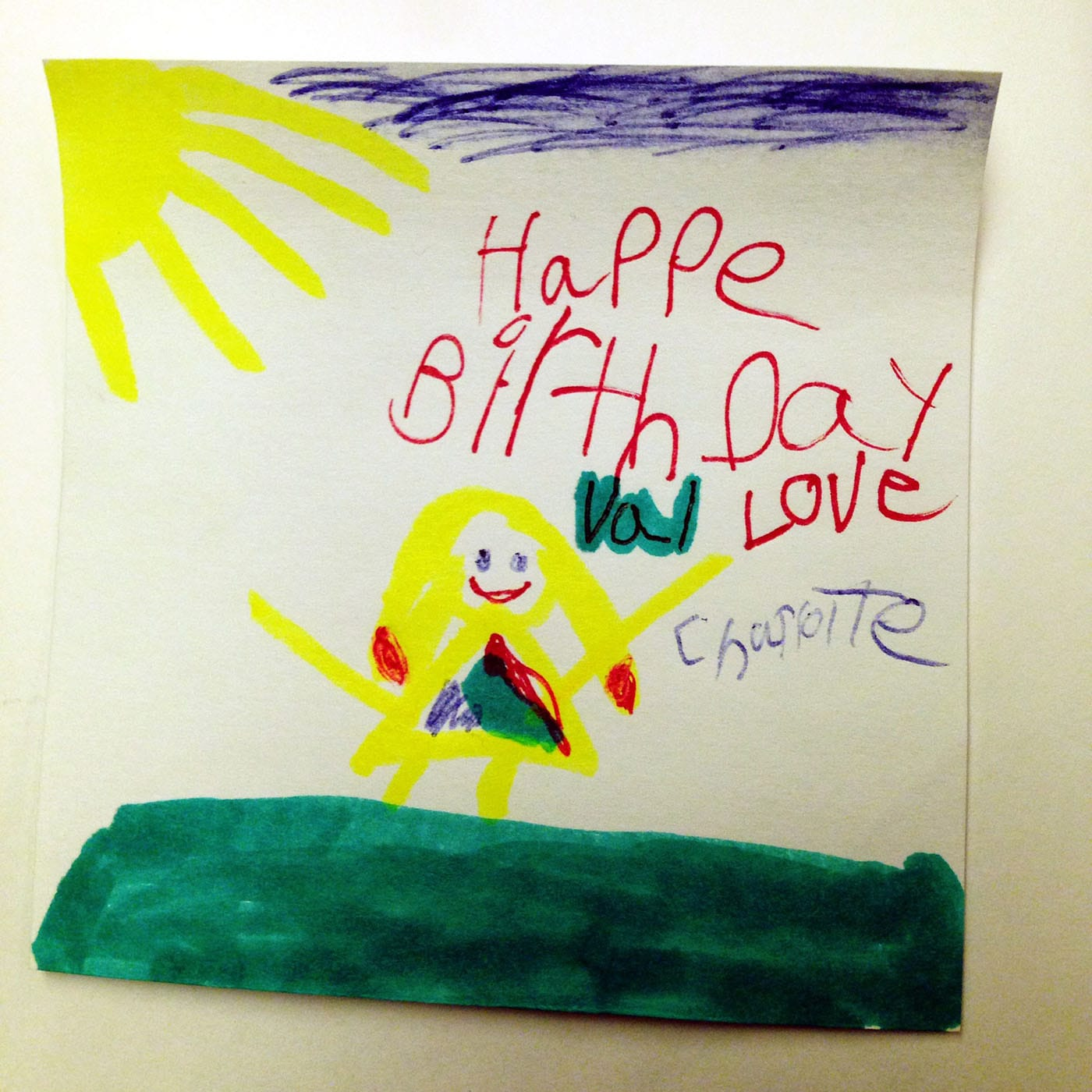 Birthday note from a 6 year old