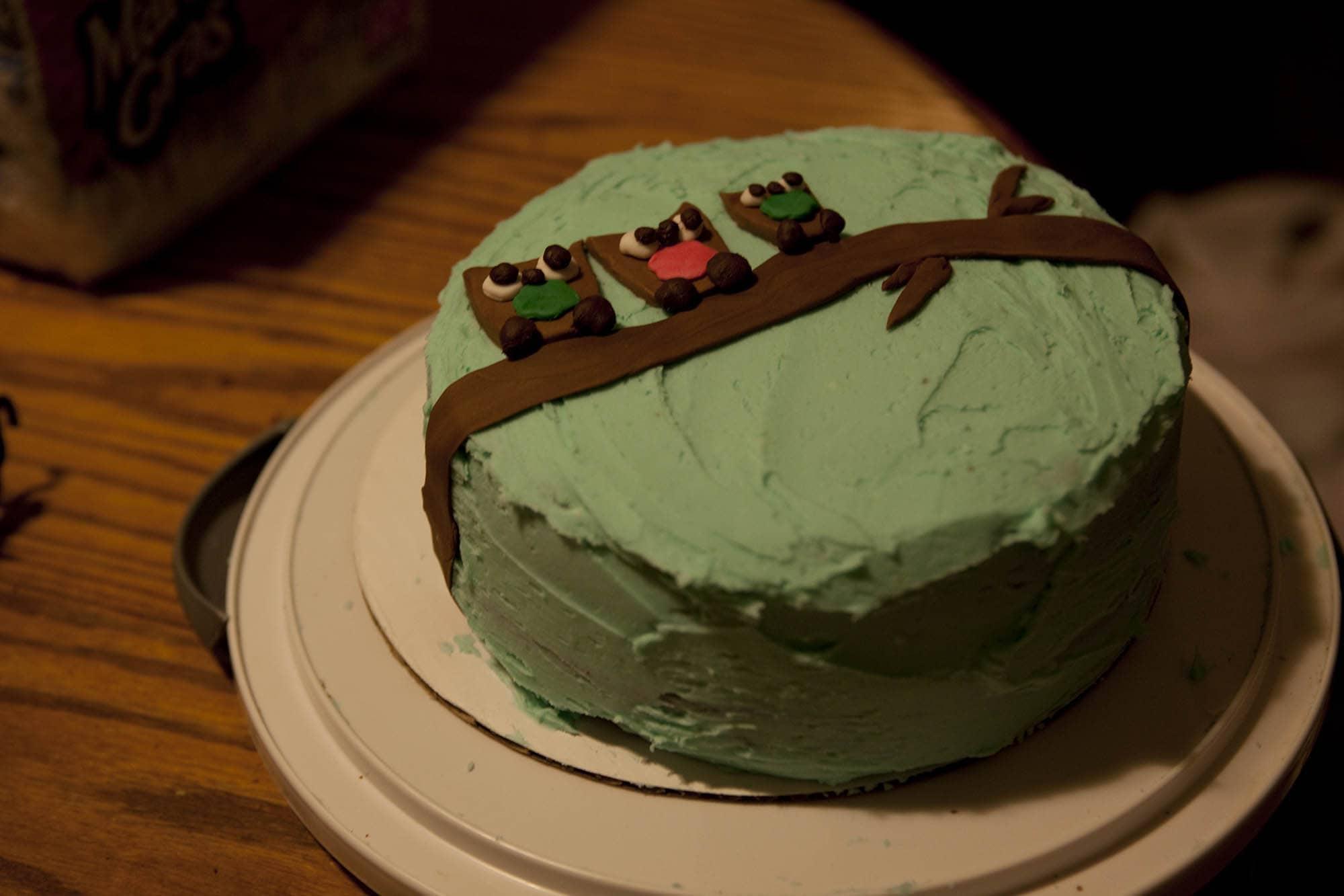 Owl-themed baby shower cake