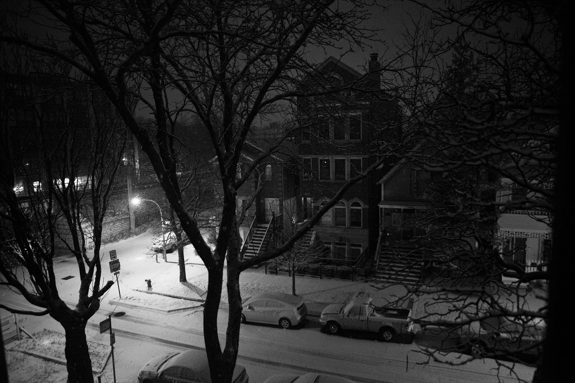 First snow of the season in Chicago. 4:30am. 6400 ISO. Snow.