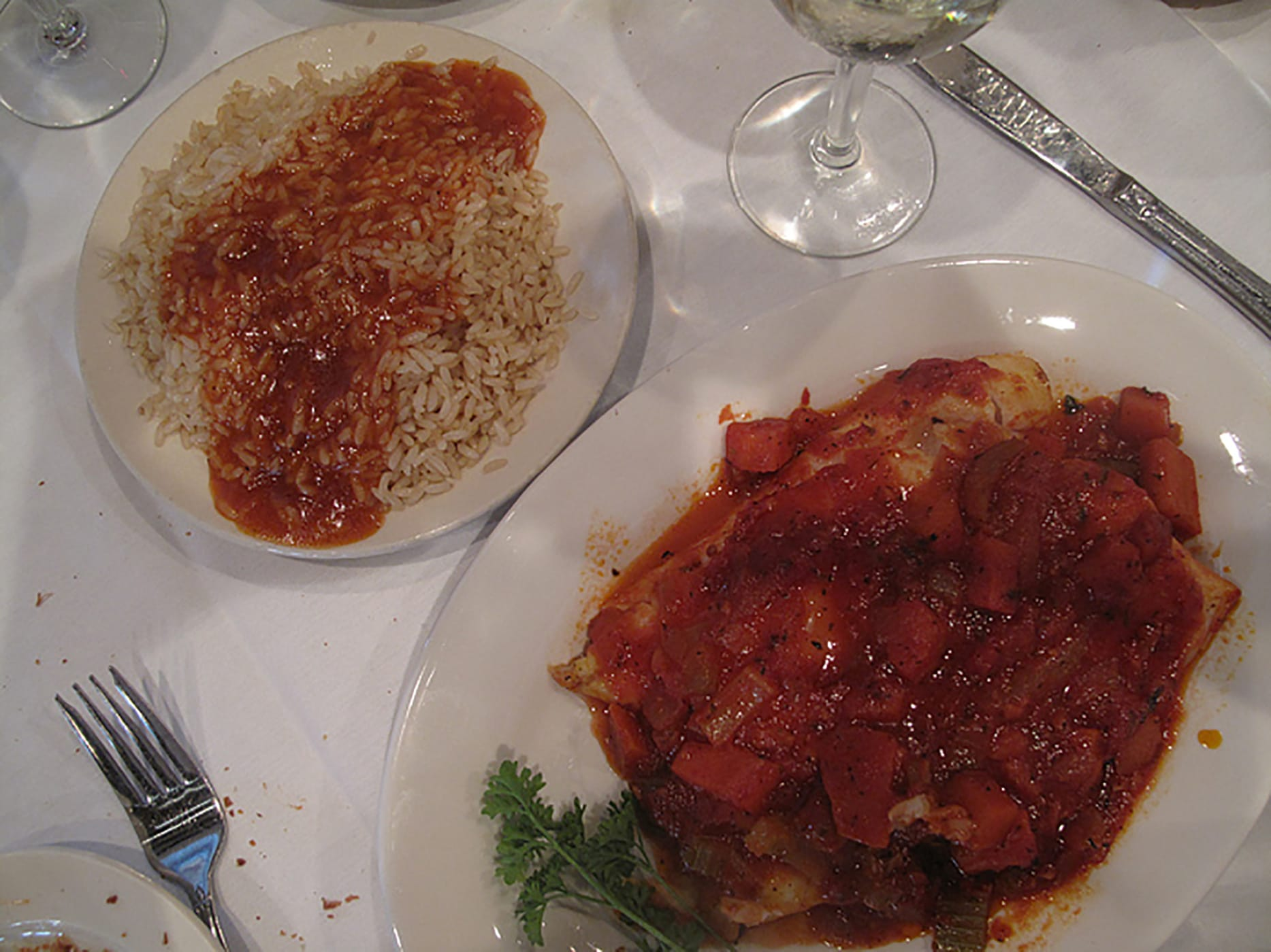 Greek food - Orange Roughy in a tomato sauce