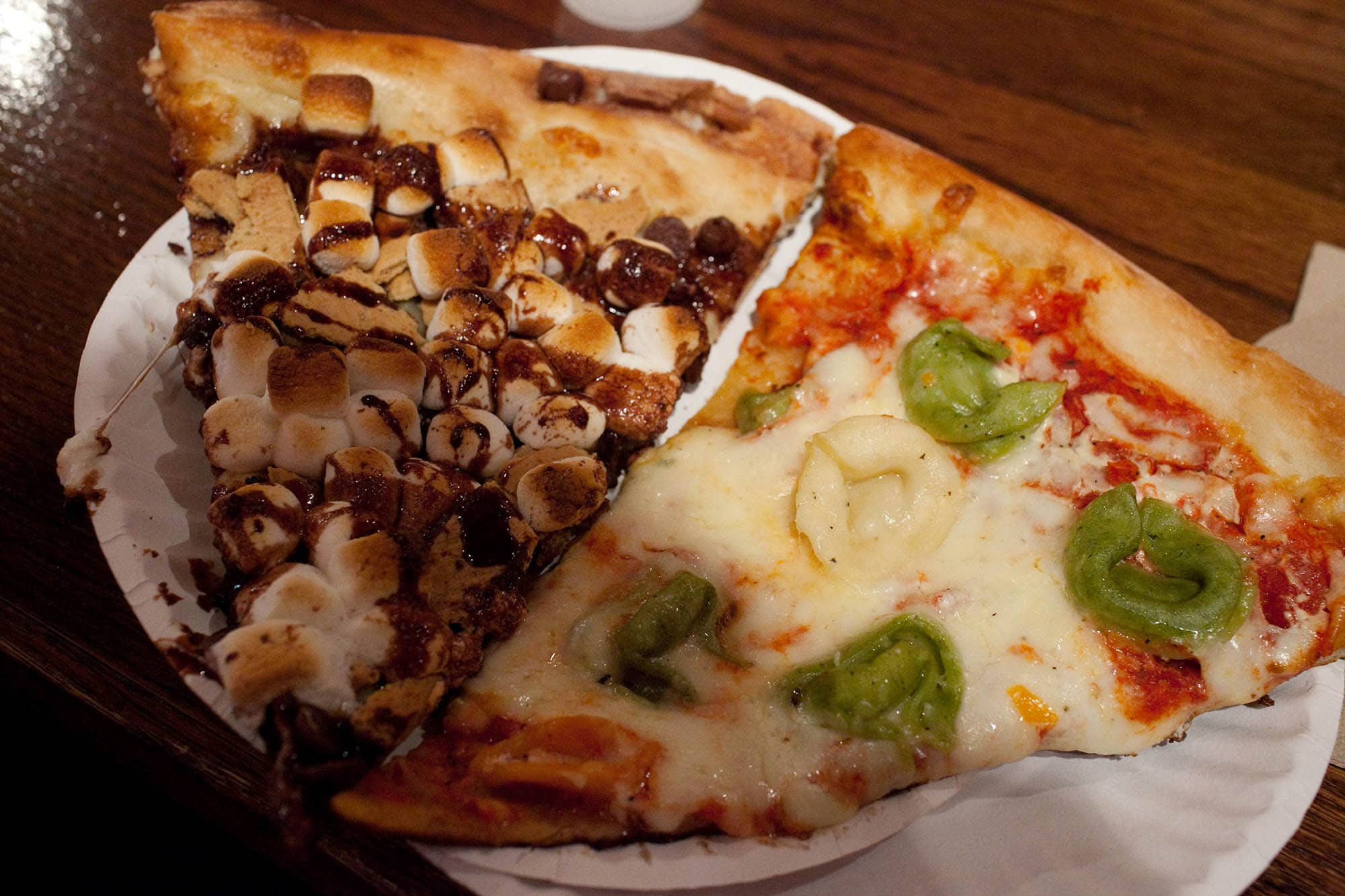 Tortellini and smore pizzas at Ian's Wrigleyville