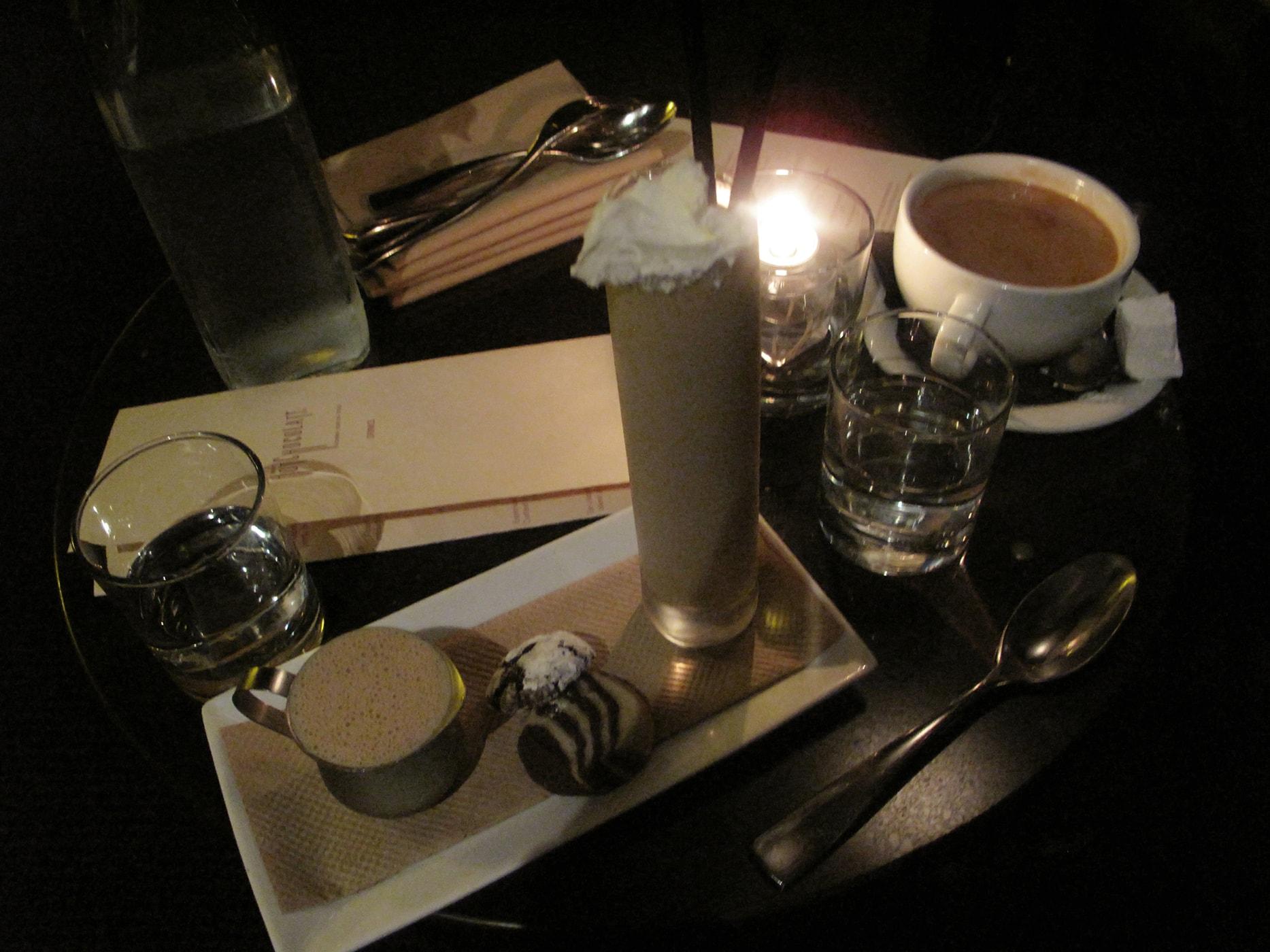 Hot chocolate and milkshake from Mindy's Hot Chocolate.