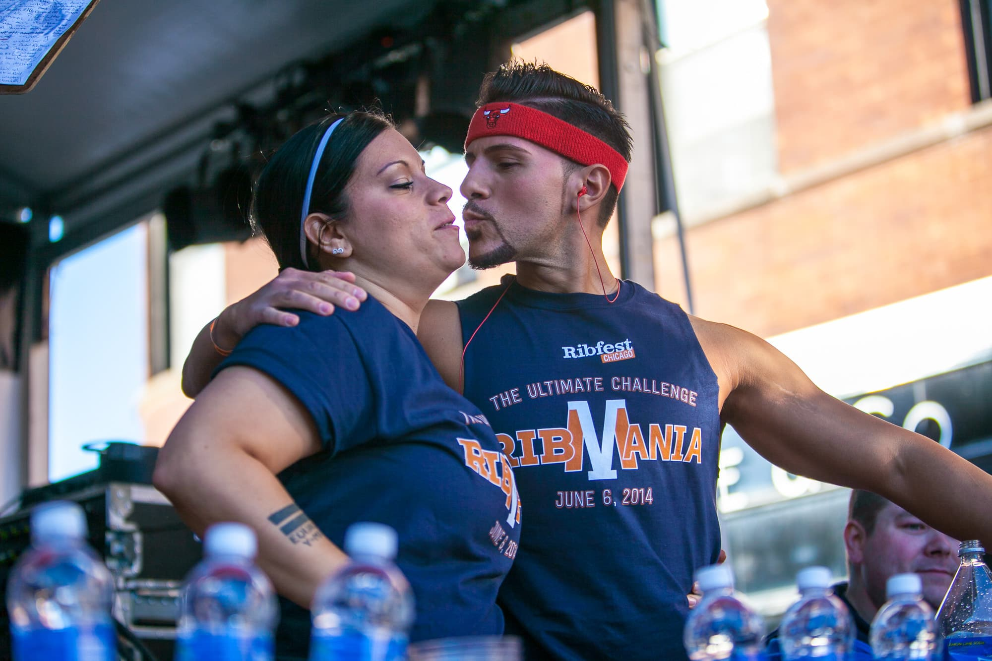 Sibling eaters Juan and Nikki Rodriguez at Ribmania Ribs Eating Contest at Ribfest Chicago.