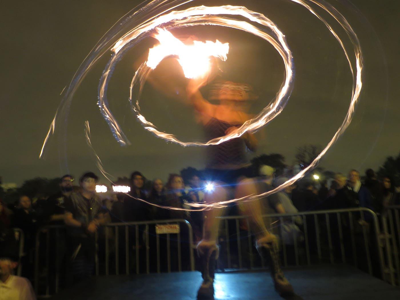 Poi fire spinner Riot Fest Chicago 2013