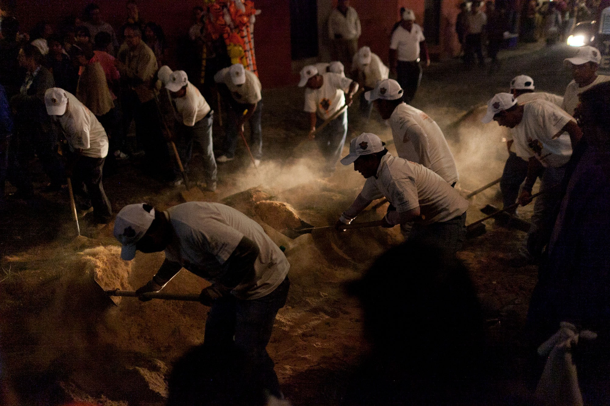 Alfombra sawdust carpet at a procession for Semana Santa in Antigua, Guatemala.
