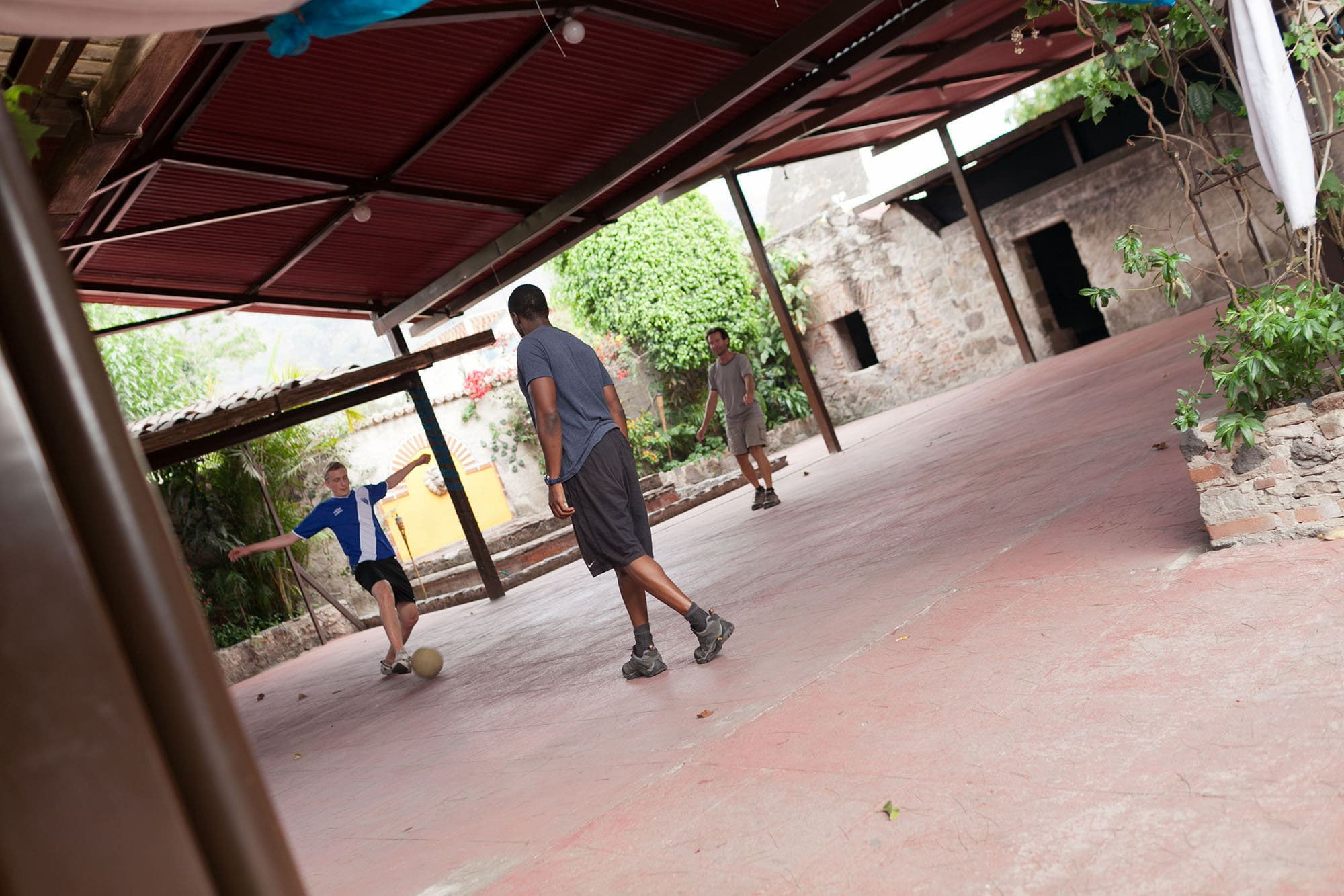 Playing soccer in Antigua, Guatemala