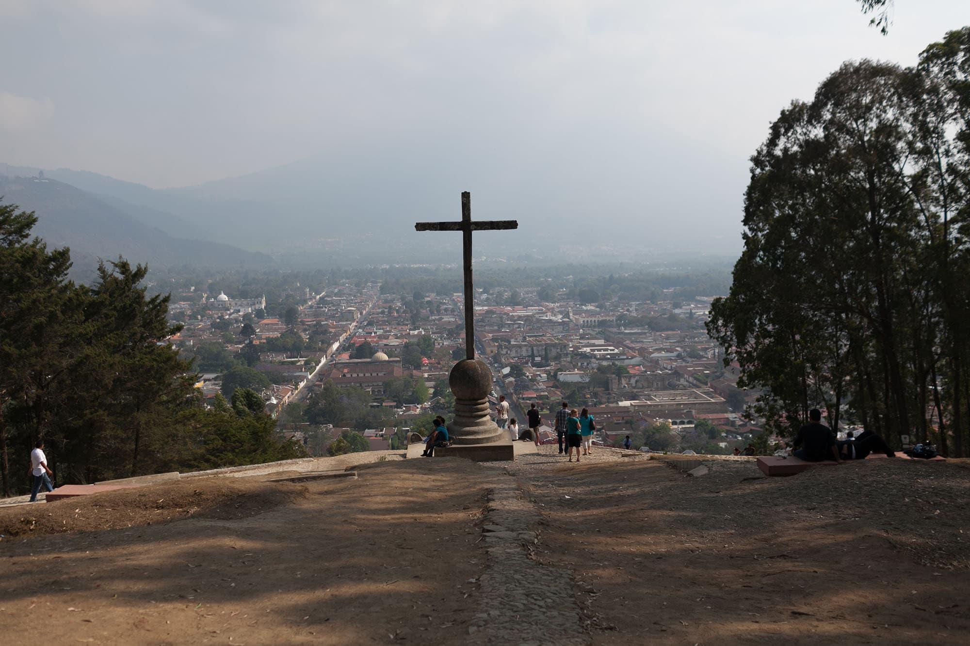 Cerro de la Cruz - cross on the hill - in Antigua, Guatemala.