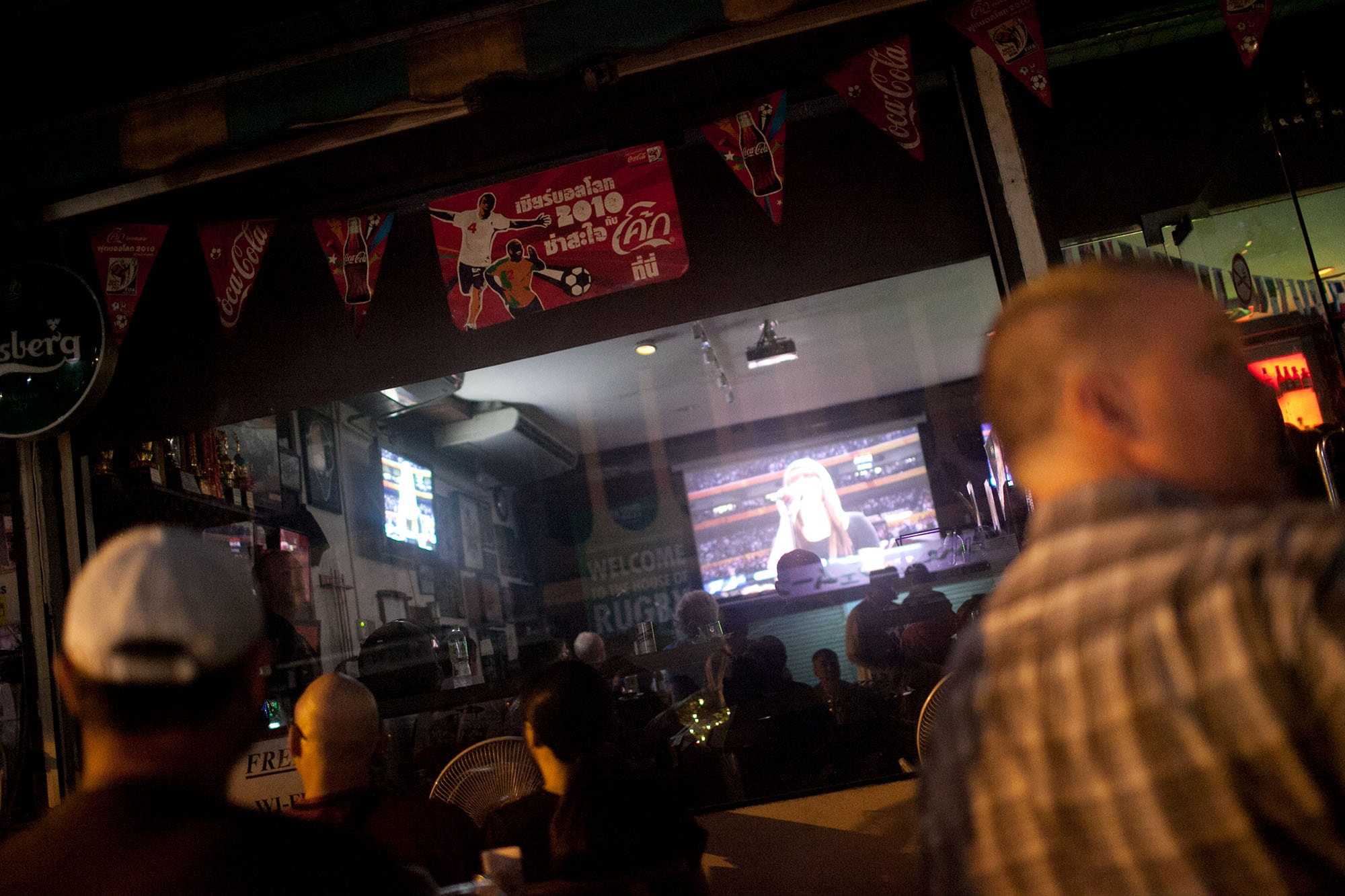 Watching the Super Bowl at the Sports Corner in Bangkok, Thailand.