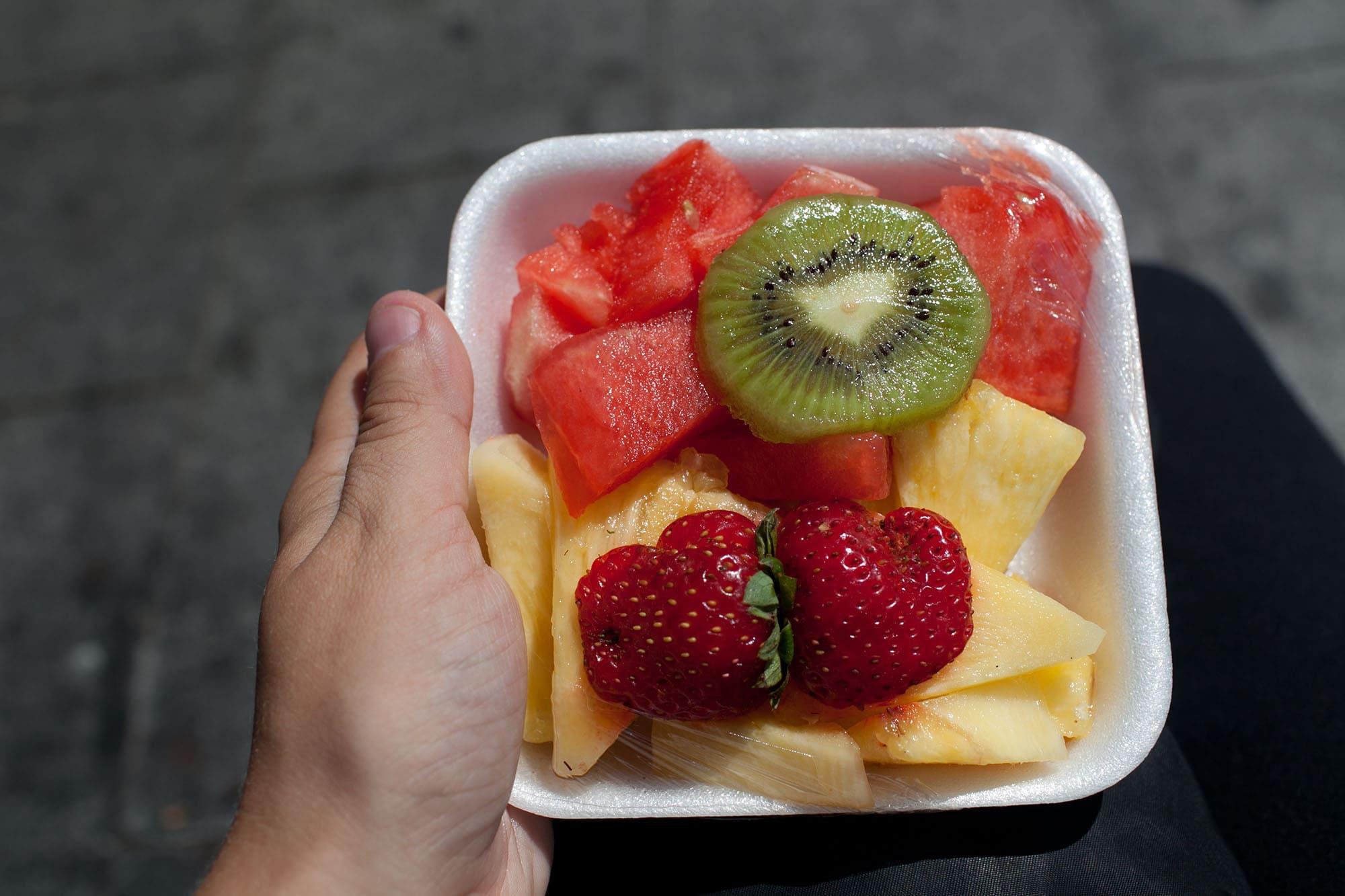 Fruit salad from Mercat de Santa Caterina in Barcelona, Spain.