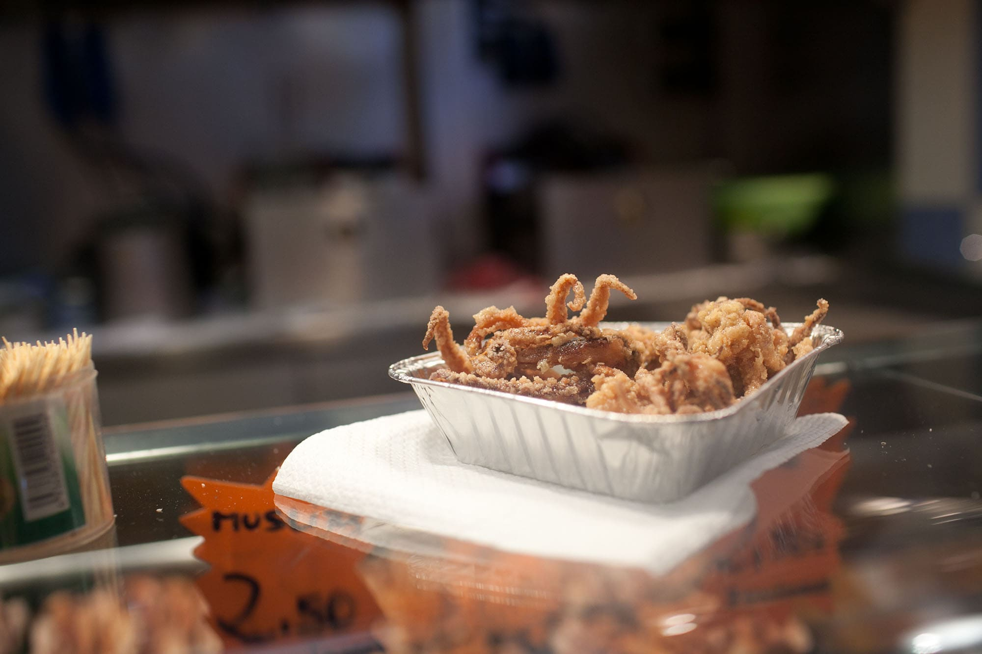 Fried squid from Mercat de Sant Josep de La Boqueria in Barcelona, Spain.