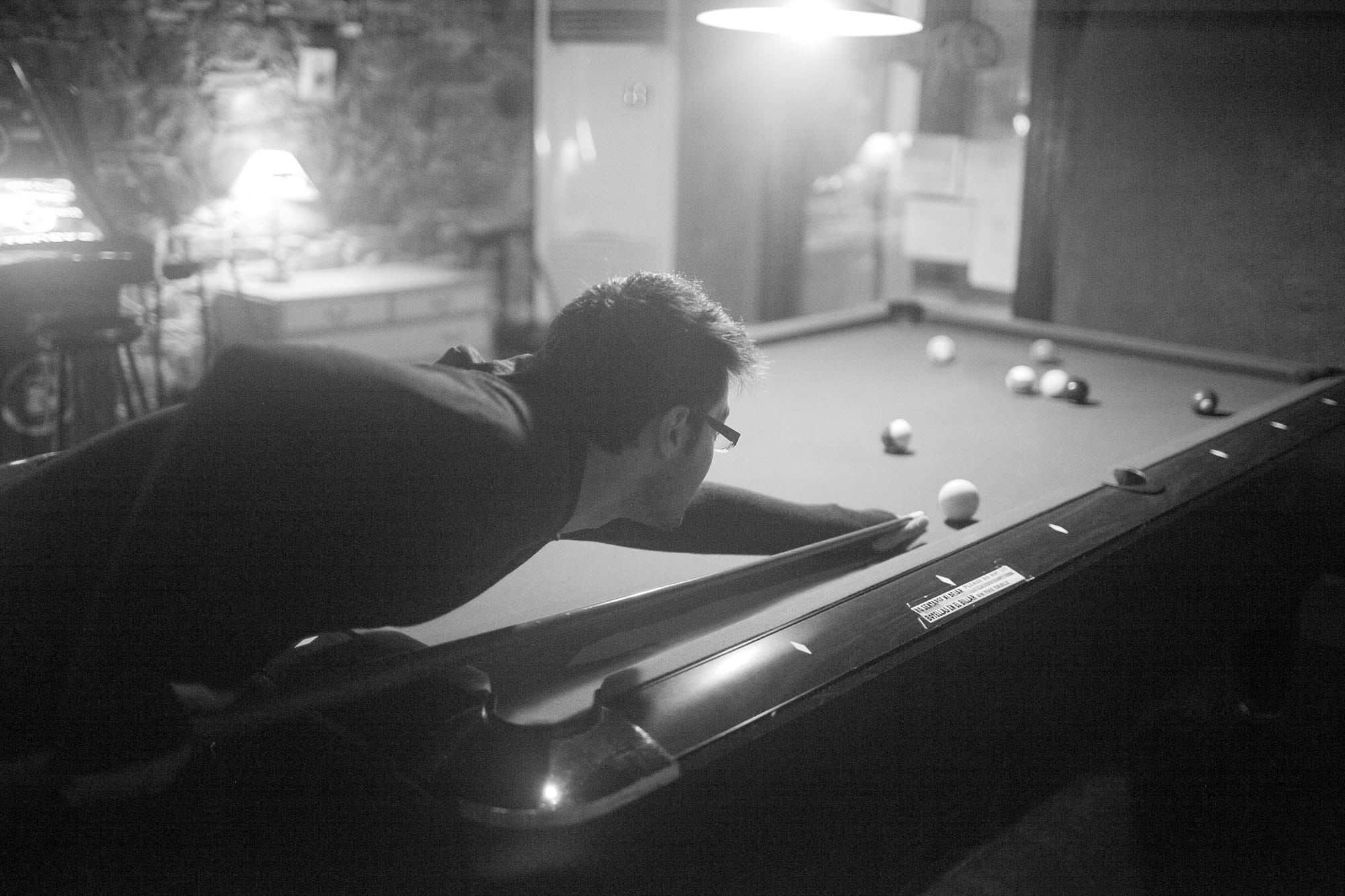 Playing pool in Barcelona