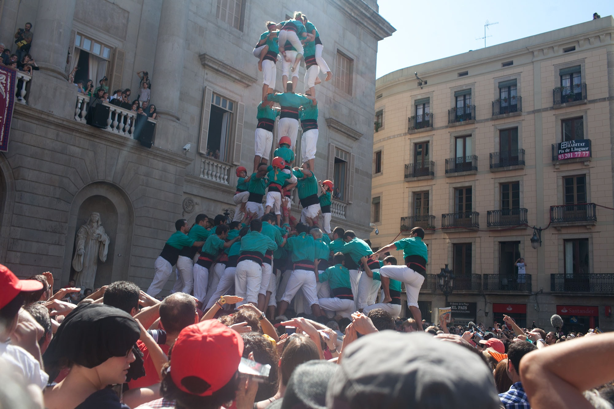 Castells Day - human tower building - at La Mercè Festival in Barcelona, Spain