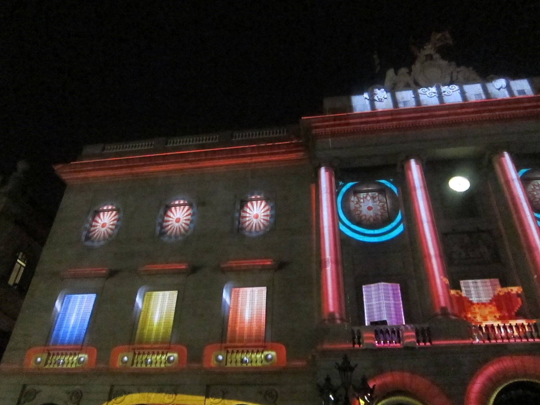 Building projections at La Mercè Festival in Barcelona, Spain