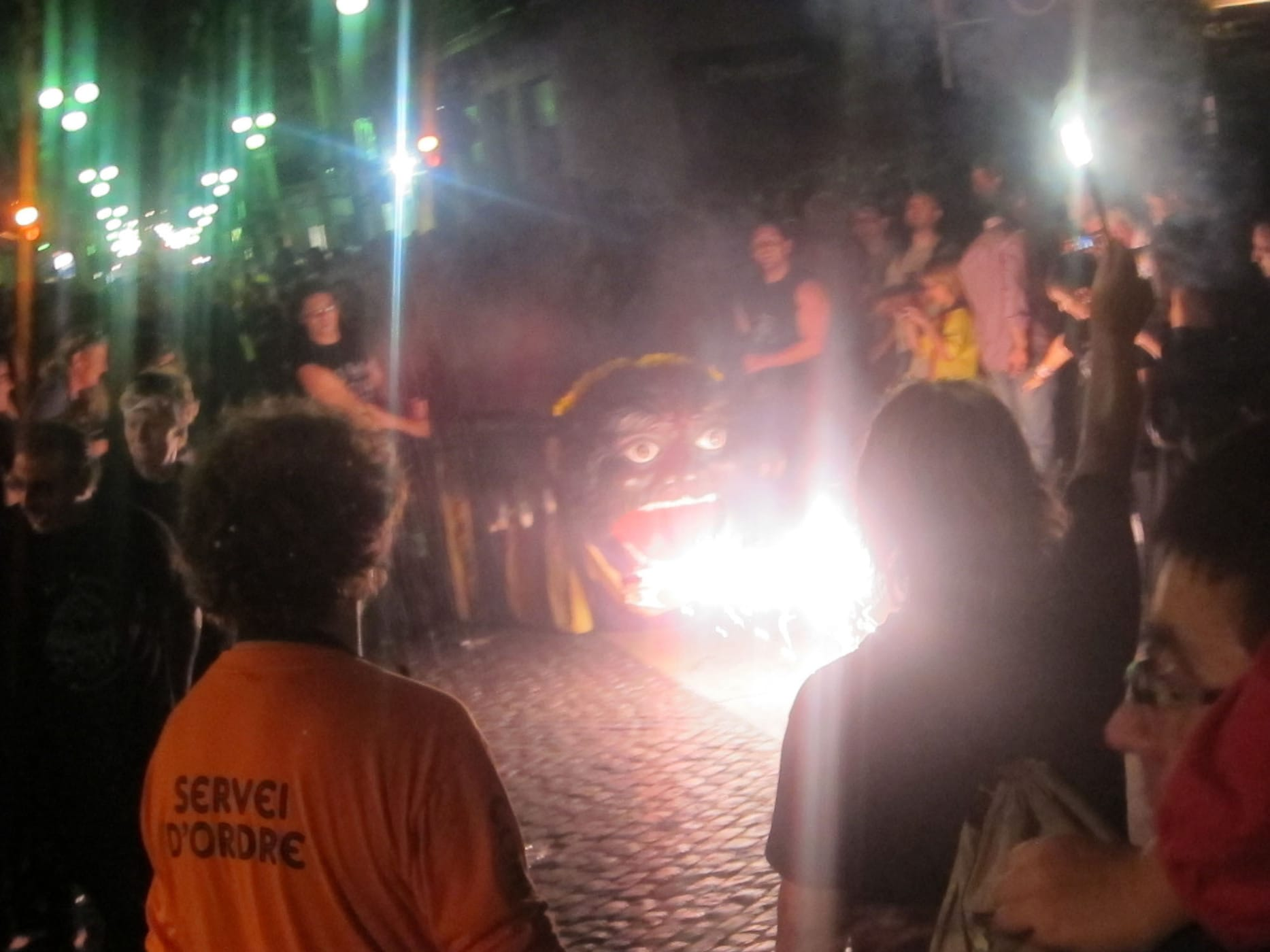 Drum lines and fire breathing animals at La Mercè Festival in Barcelona, Spain
