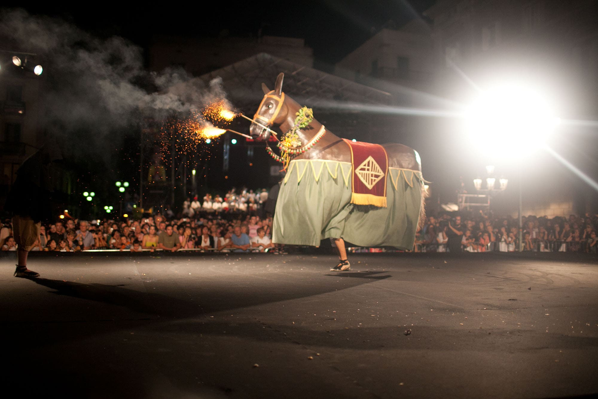 Fire horse at the Opening Ceremony of La Mercè  Festival 2011 in Barcelona, Spain