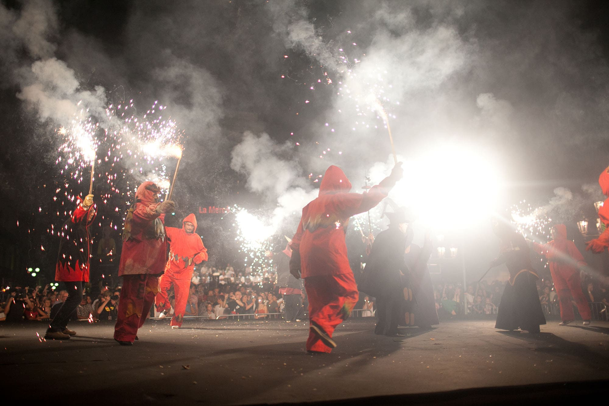 Correfoc at the Opening Ceremony of La Mercè Festival 2011 in Barcelona, Spain