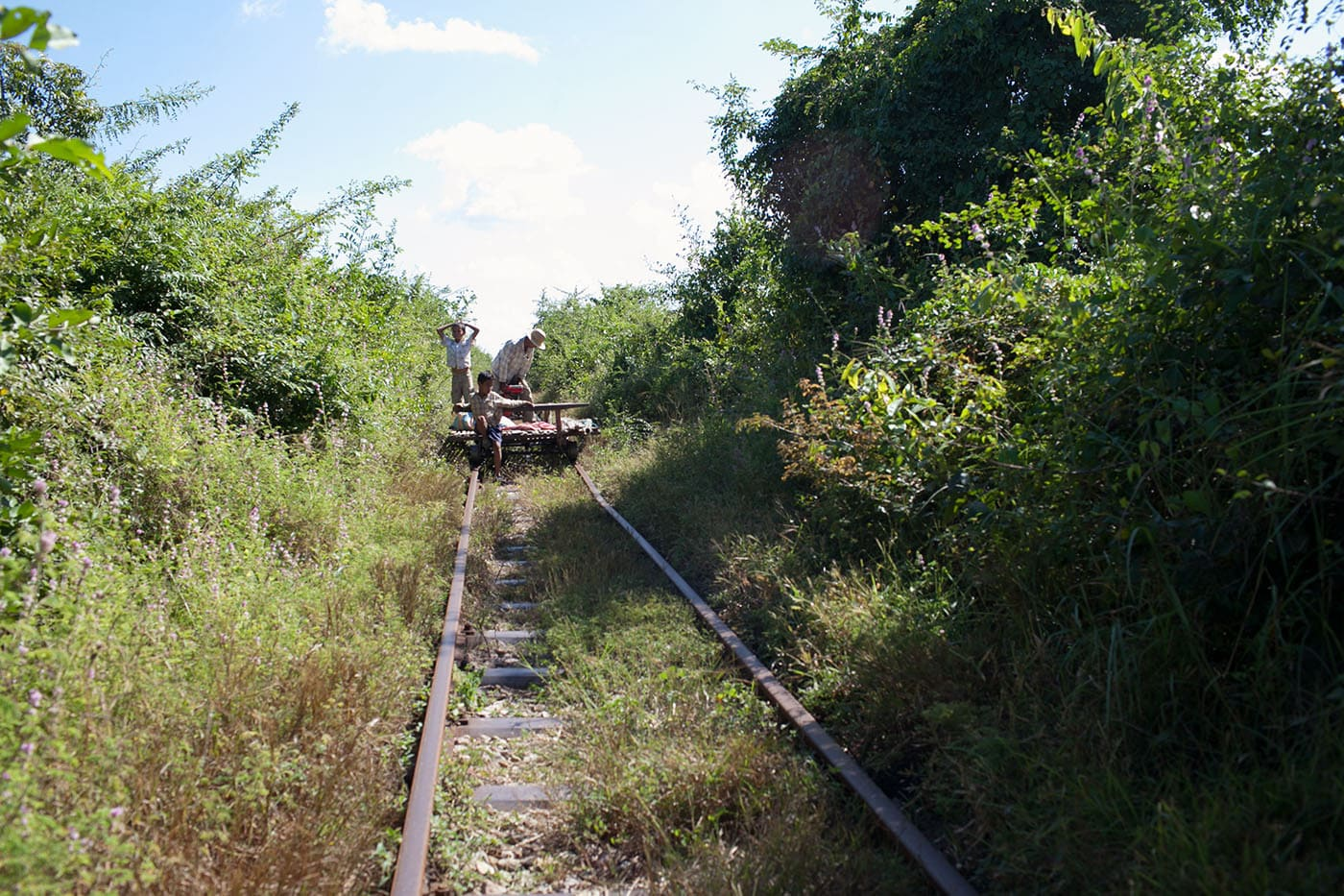 Riding the bamboo railroad in Battambang, Cambodia