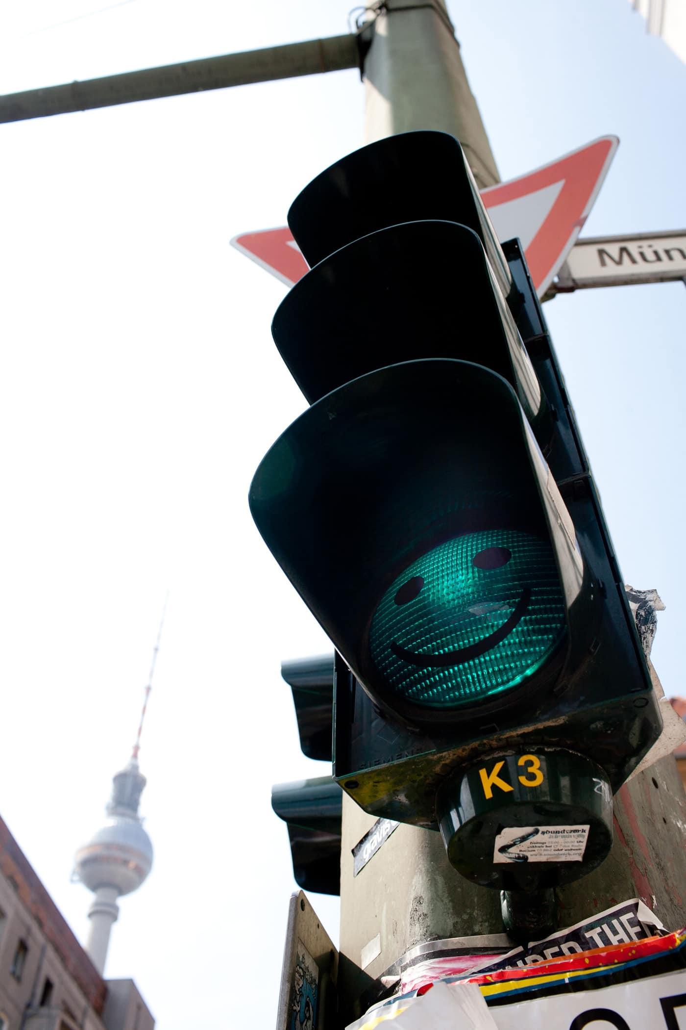 Smiley face traffic light in Berlin
