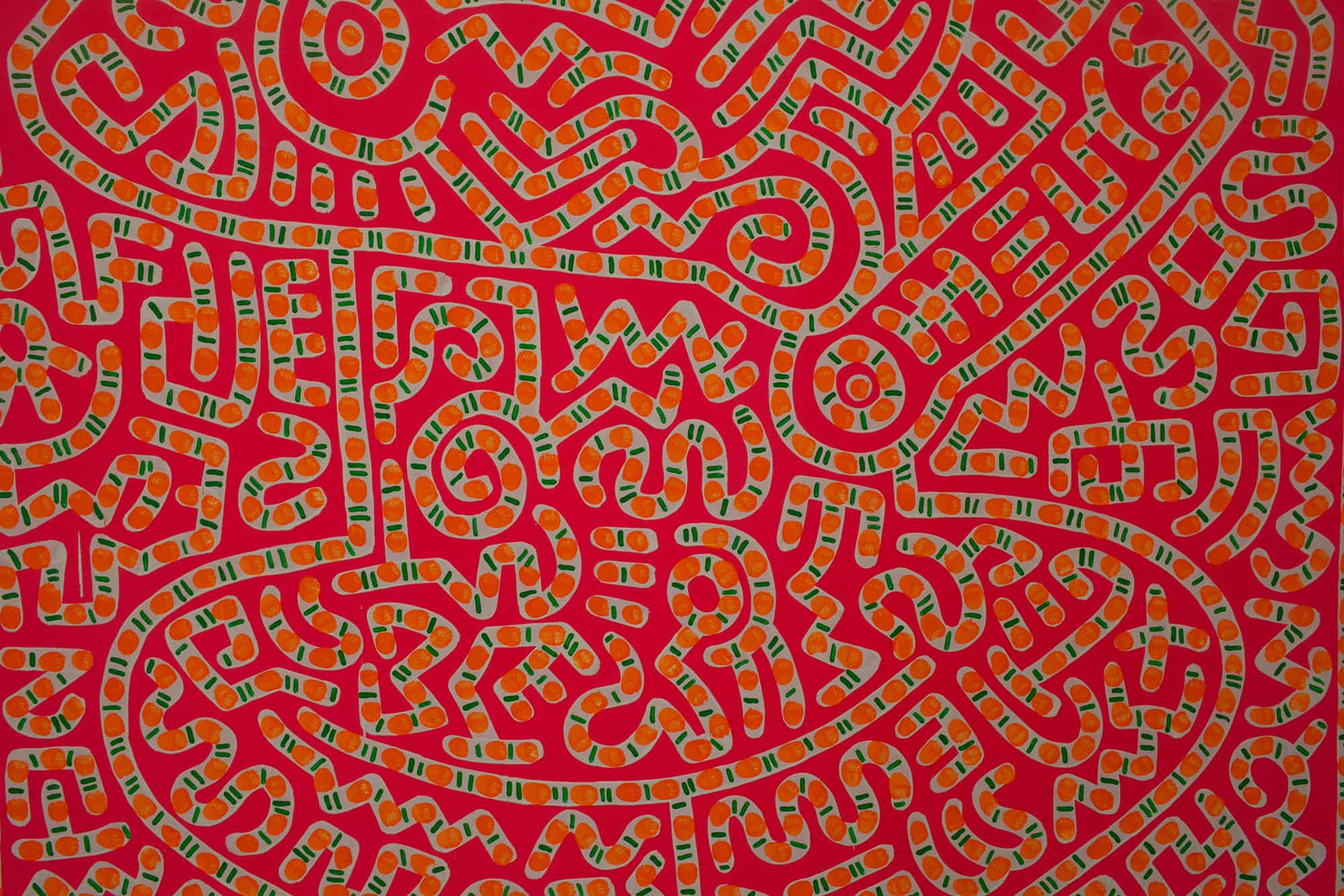 Hamburger Bahnhof contemporary art museum in Berlin, Germany. Keith Haring painting