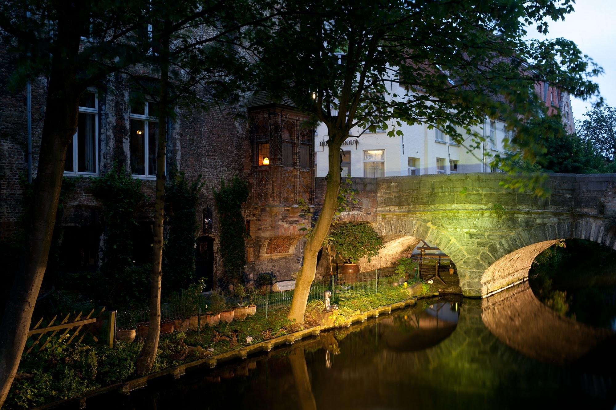 Canals at night in Bruges, Belgium