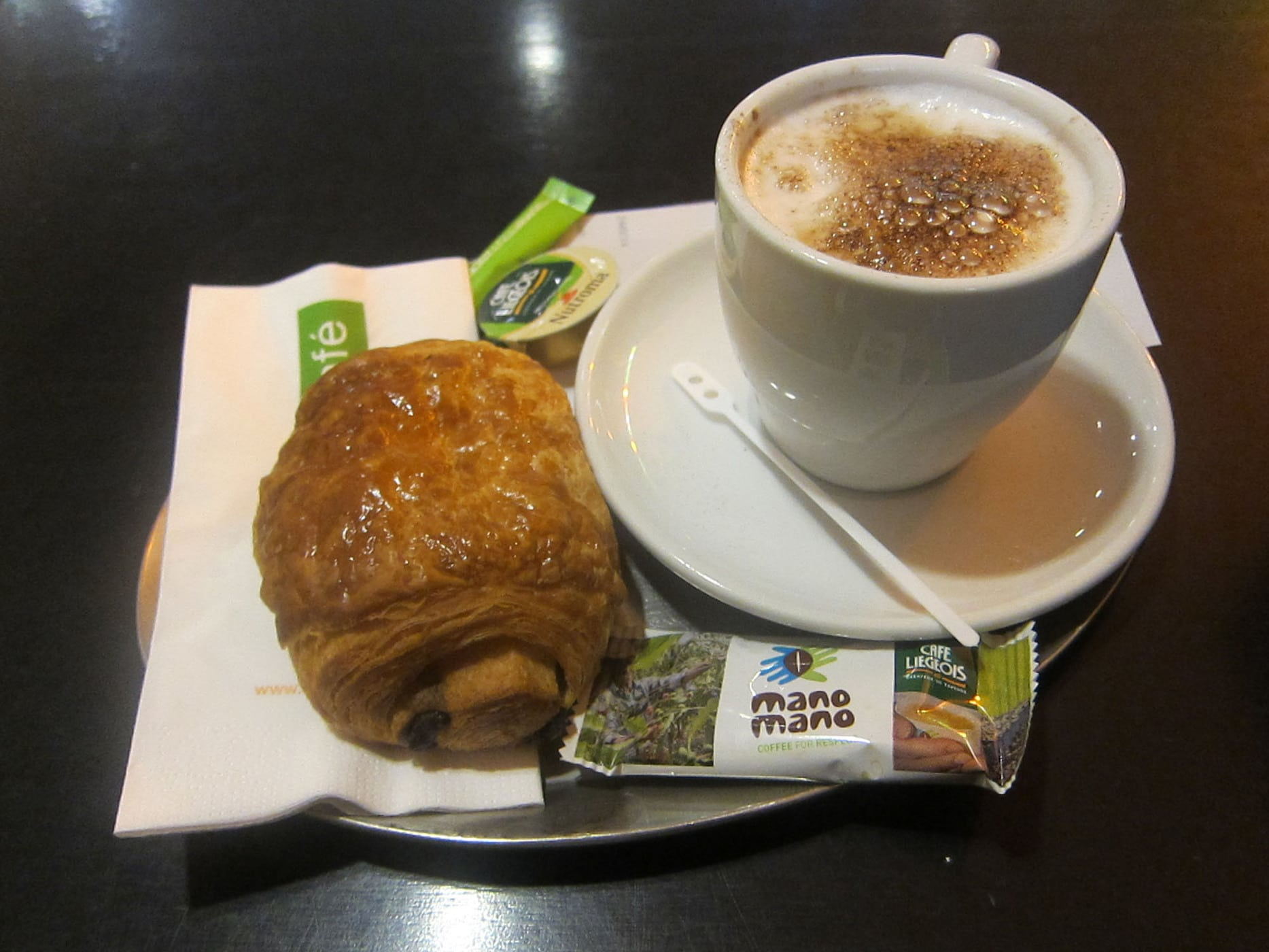Croissant and coffee in Belgium