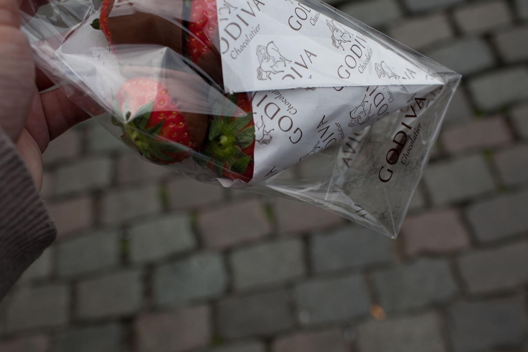 Godiva chocolate covered strawberries in Brussels, Belgium