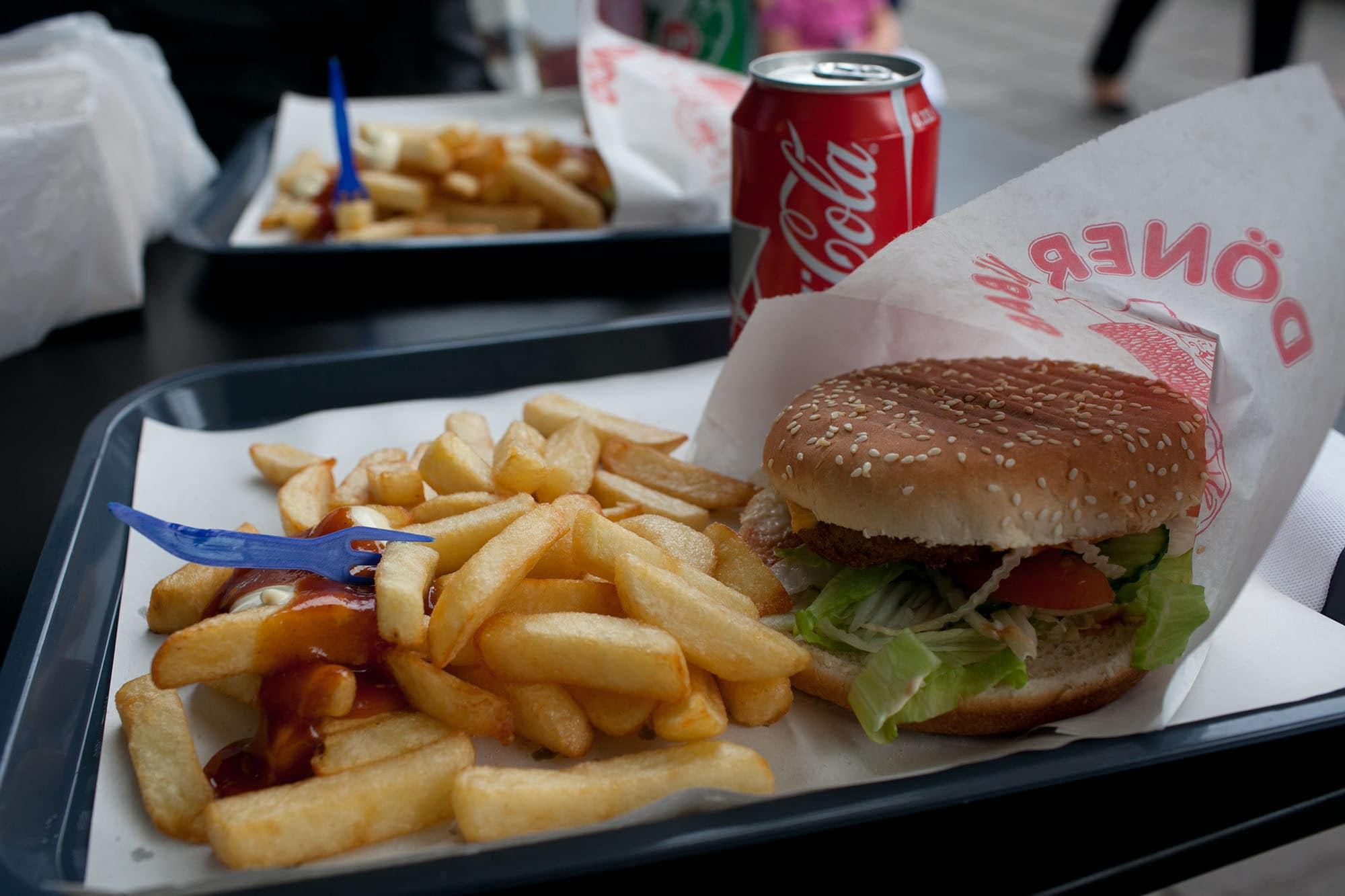 Cheap hamburger in Brussels, Belgium