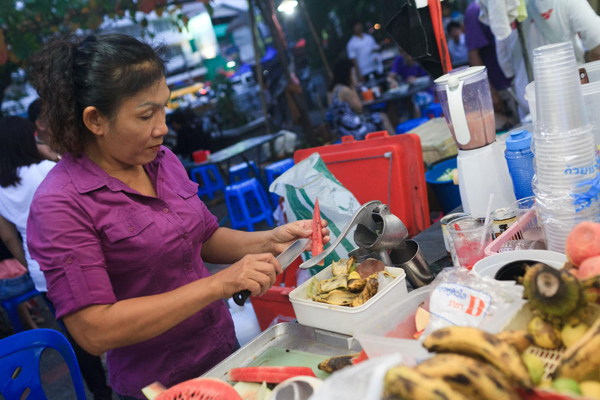 Fruit shake lady in Chiang Mai, Thailand.