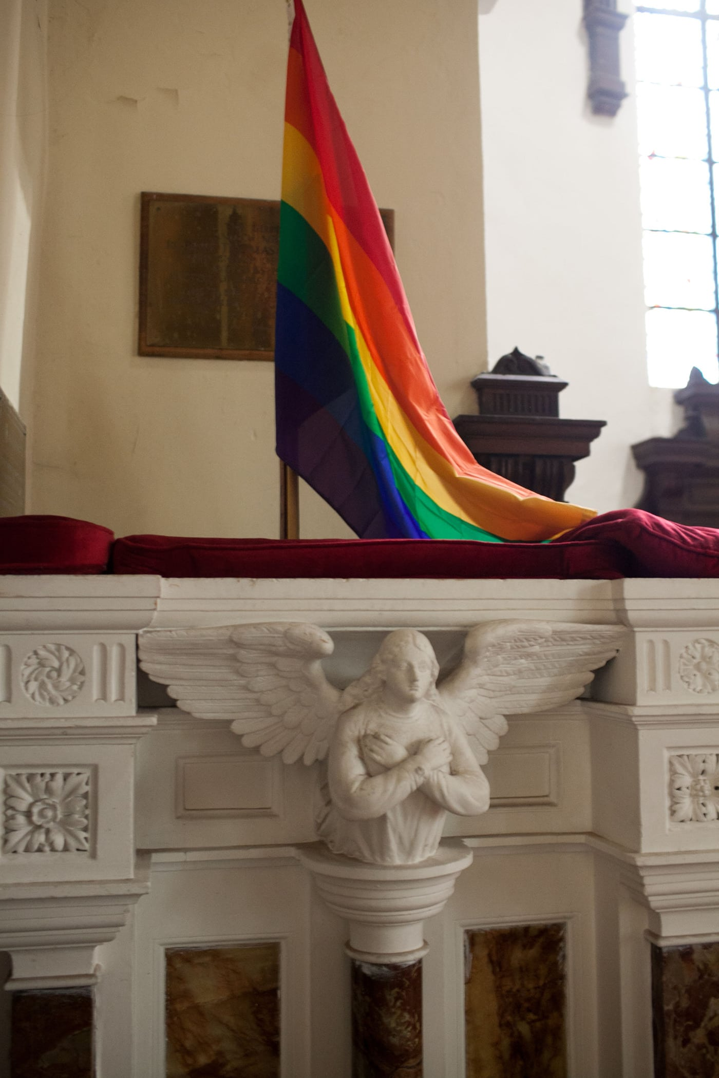 Gay flag at a church in Cork, Ireland