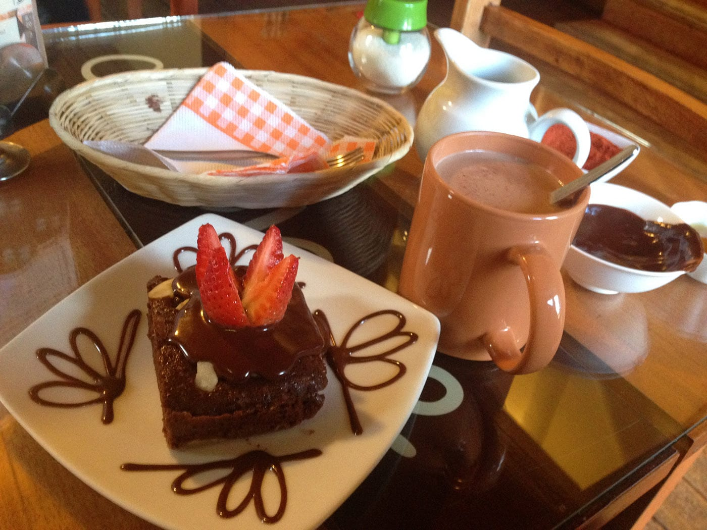 Brownie and hot chocolate at the chocolate museum in Cusco, Peru. What to eat in Cusco, Peru.