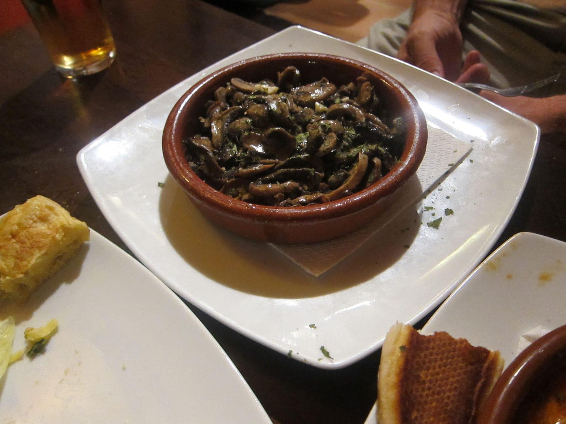 Mushroom tapas in Granada, Spain.