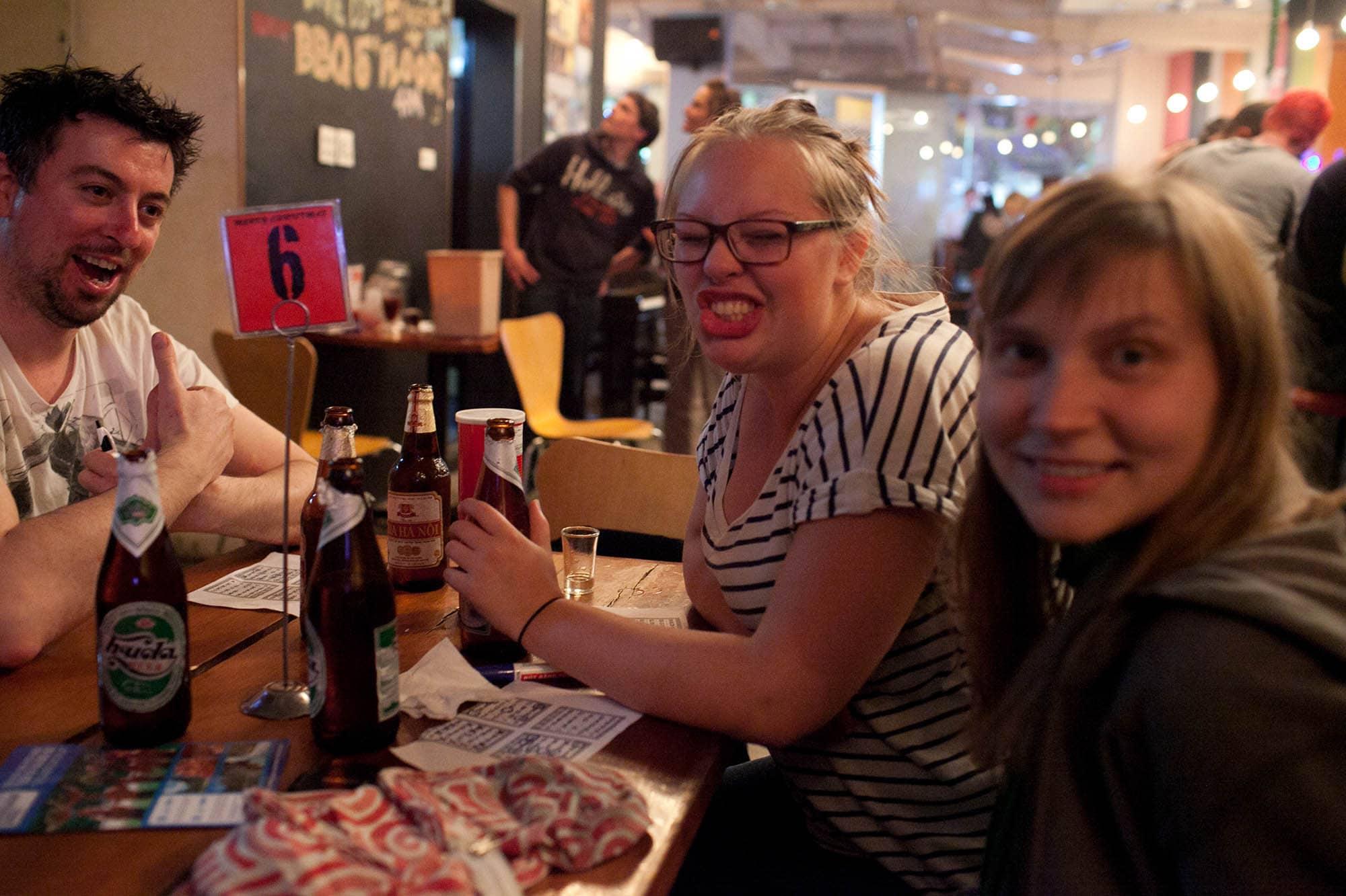 Beer Bingo at Hanoi Backpackers in Vietnam