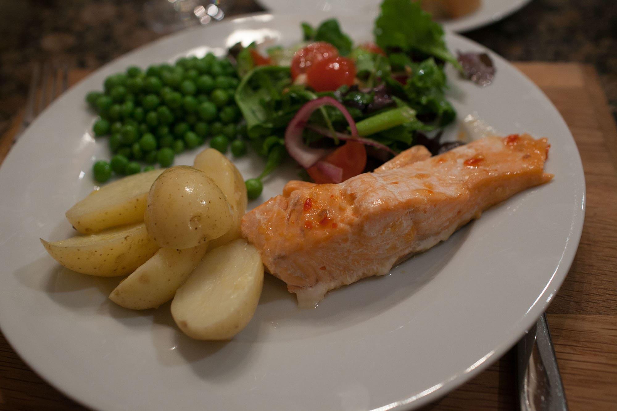 Salmon dinner made by Tom's mom.