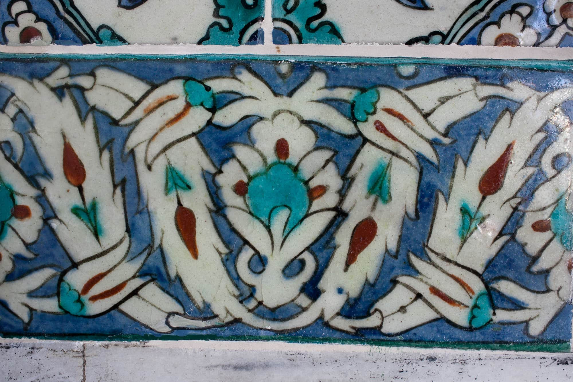 Mosaics and tile work in Topkapi Sarayi in Istanbul, Turkey