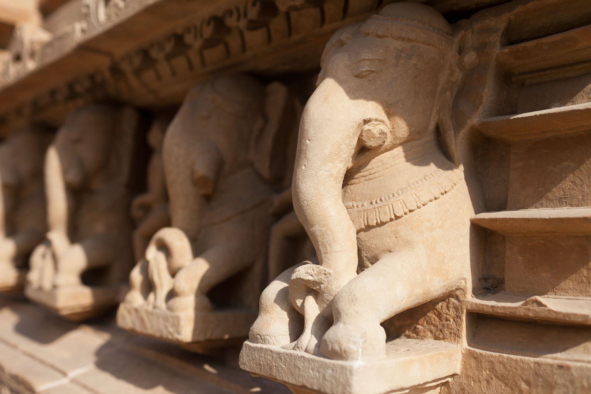 Khajuraho Sex Temples -- Elephant at Western Group sex temples in Khajuraho, India.
