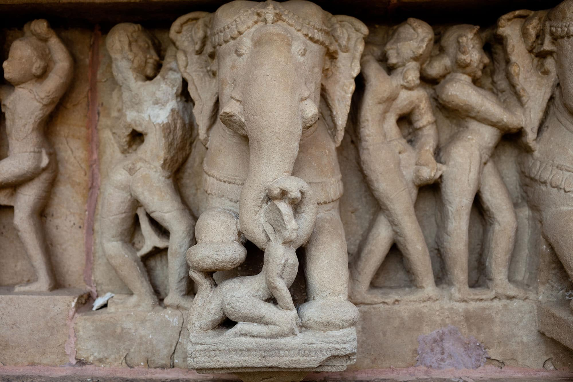 Khajuraho Sex Temples -- Elephant at Western Group sex temples in Khajuraho, India.