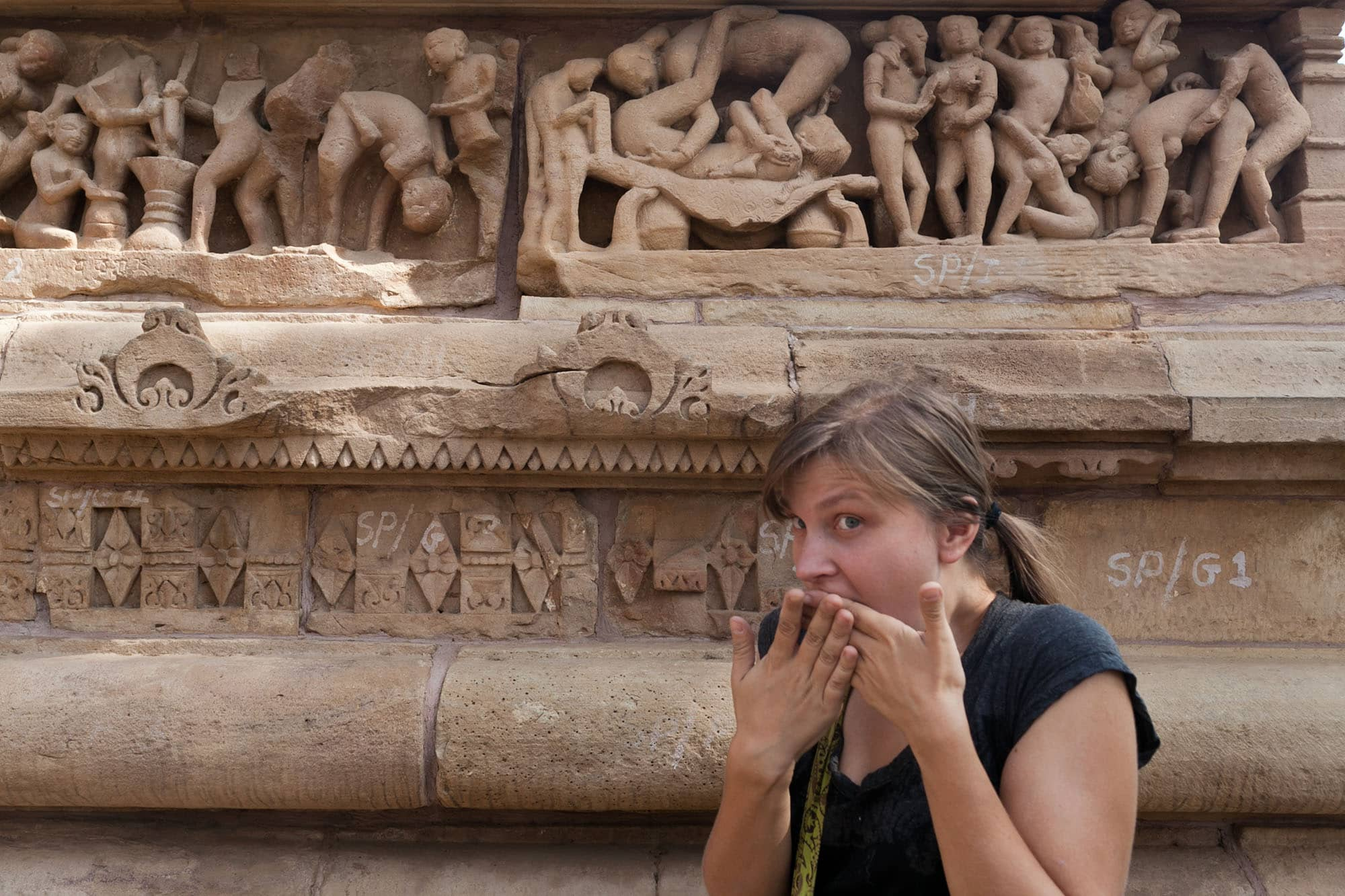 Posing at the Khajuraho Sex Temples -- Western Group sex temples in Khajuraho, India.