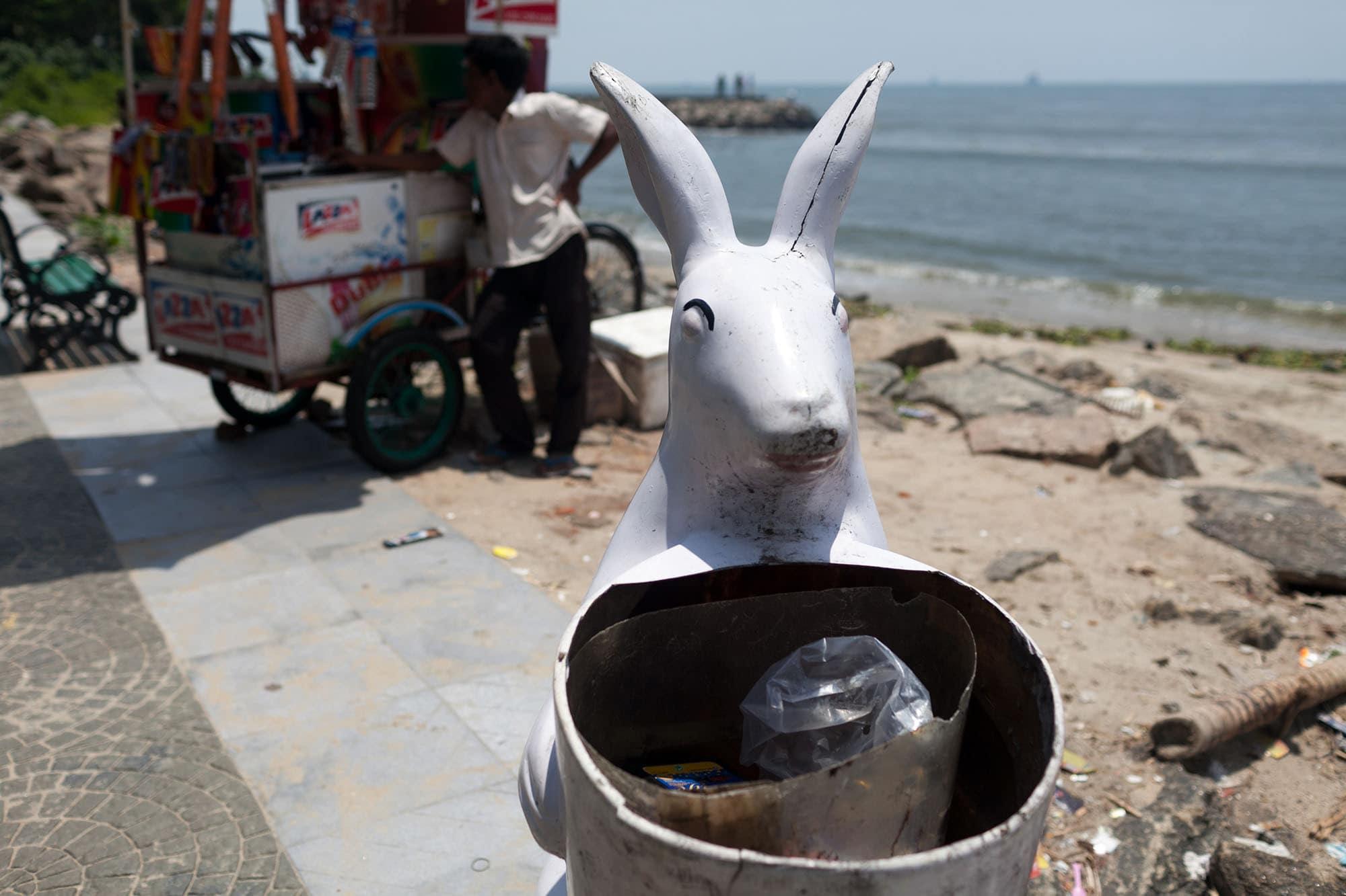 Rabbit shaped trash can in Fort Kochi, India (Cochin) in Kerala.