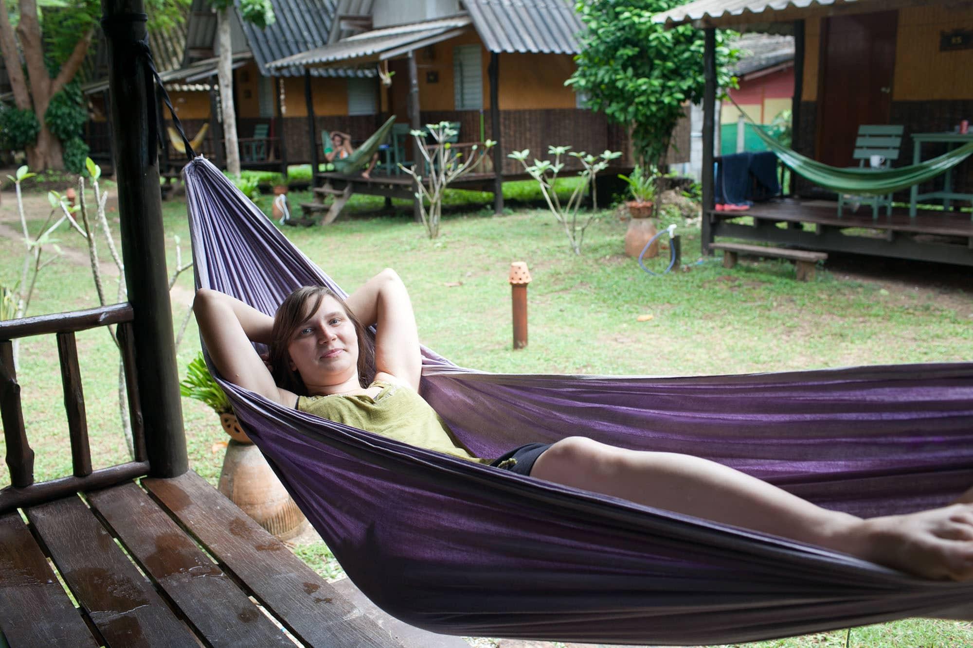 Relaxing on a hammock in Koh Lanta, Thailand