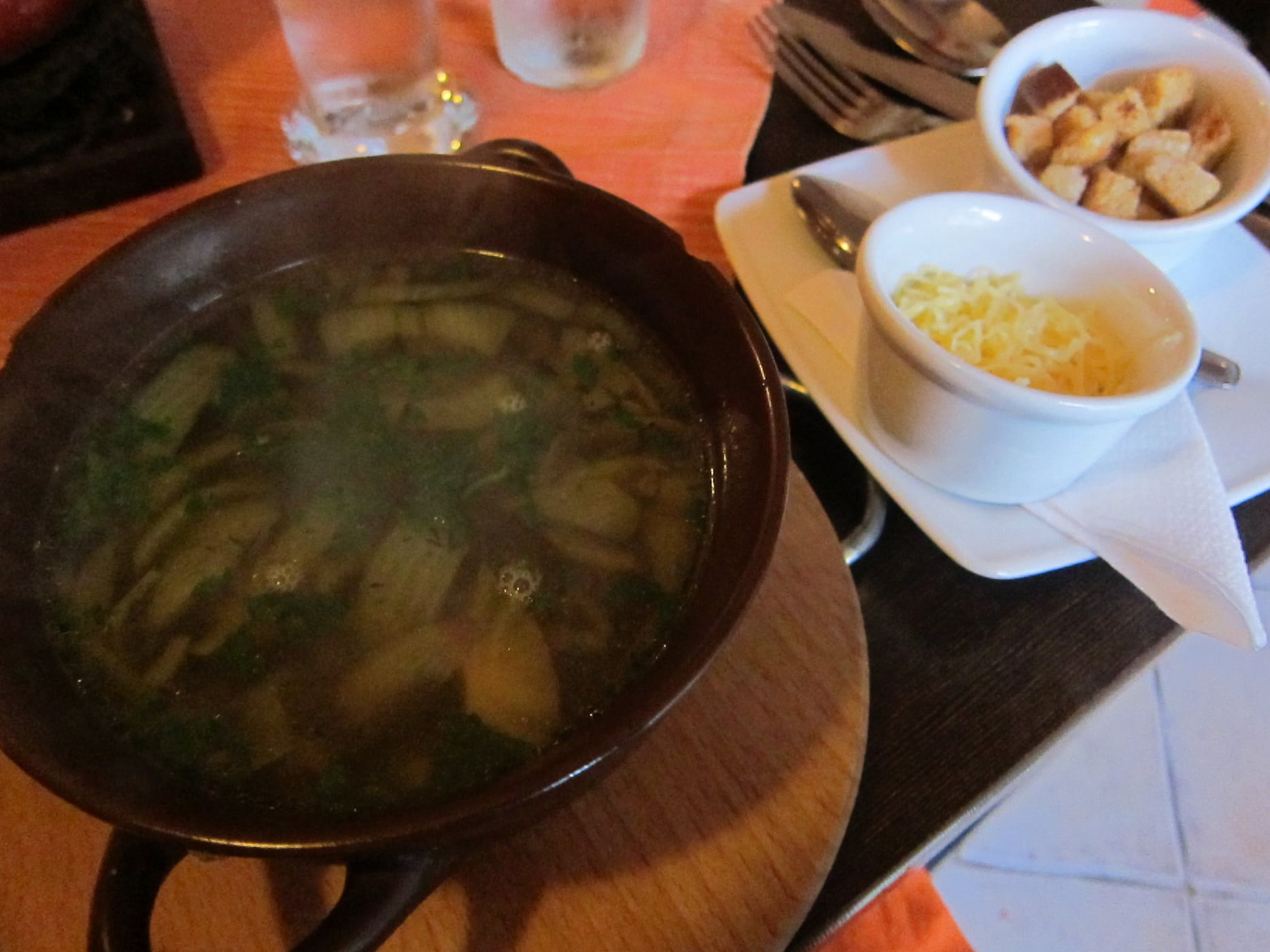Onion soup in Krakow, Poland.