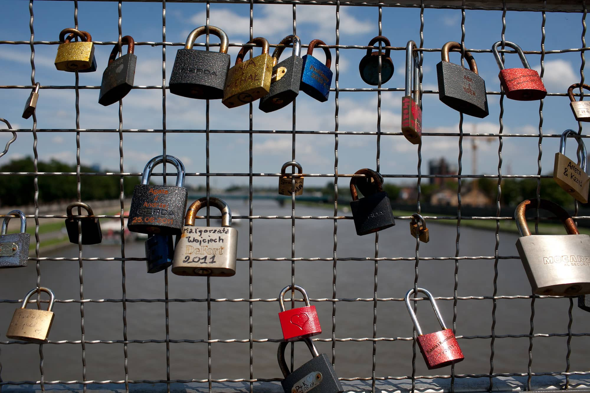 Love locks on a bridge in Krakow, Poland.