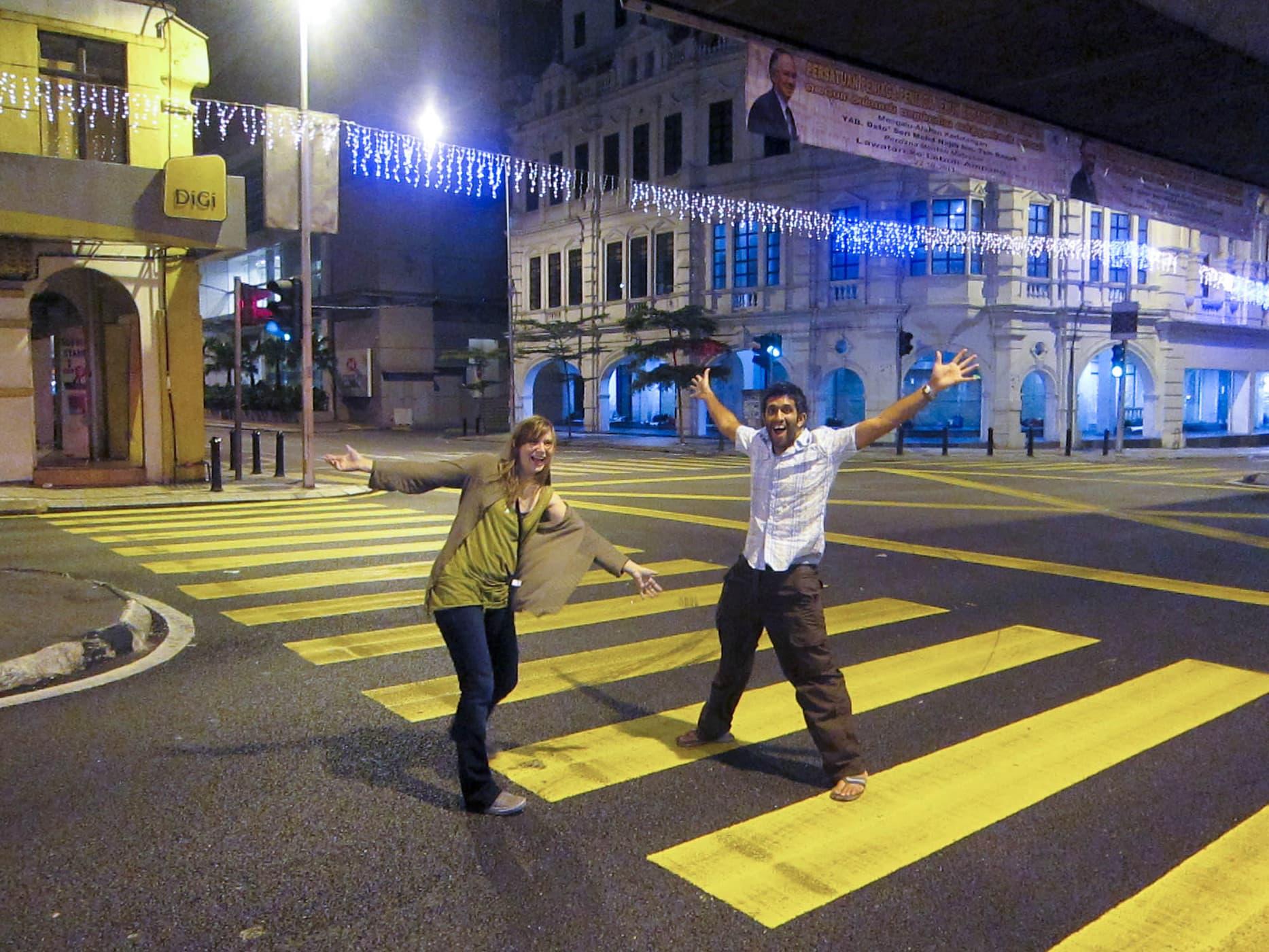 Crossing the street at 4am in Kuala Lumpur, Malaysia