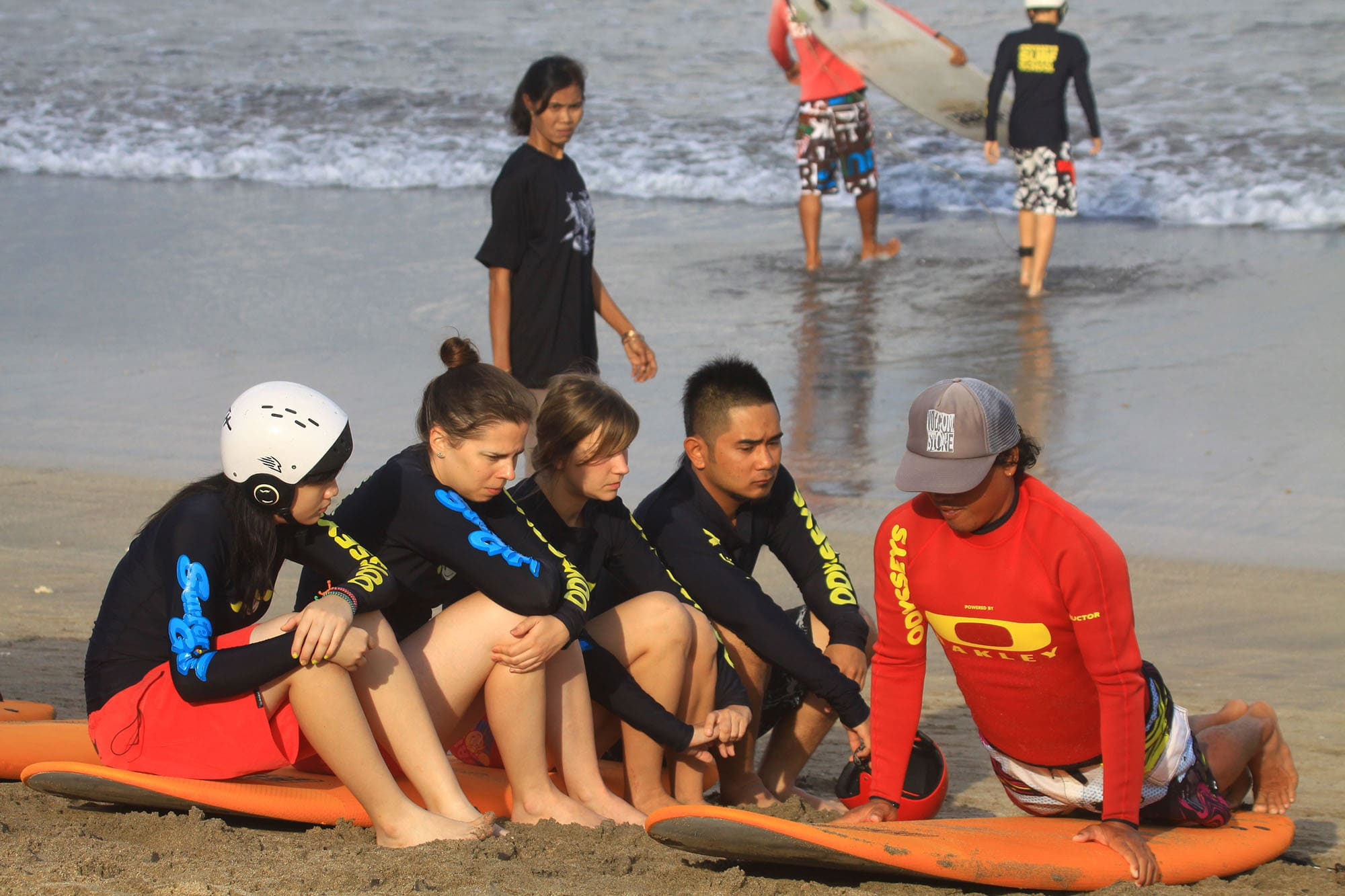 Learning to surf in Kuta, Bali, Indonesia