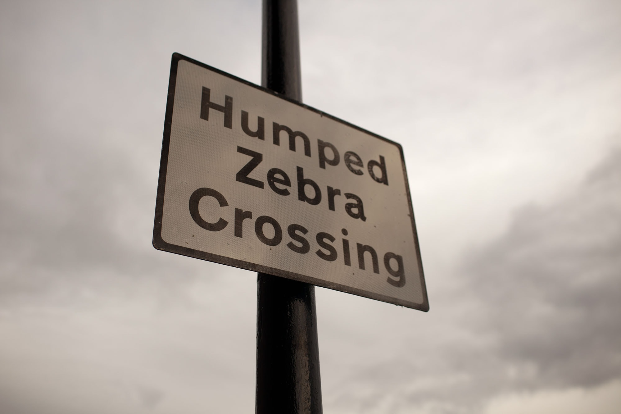 Humped Zebra Crossing sign in Liverpool, England