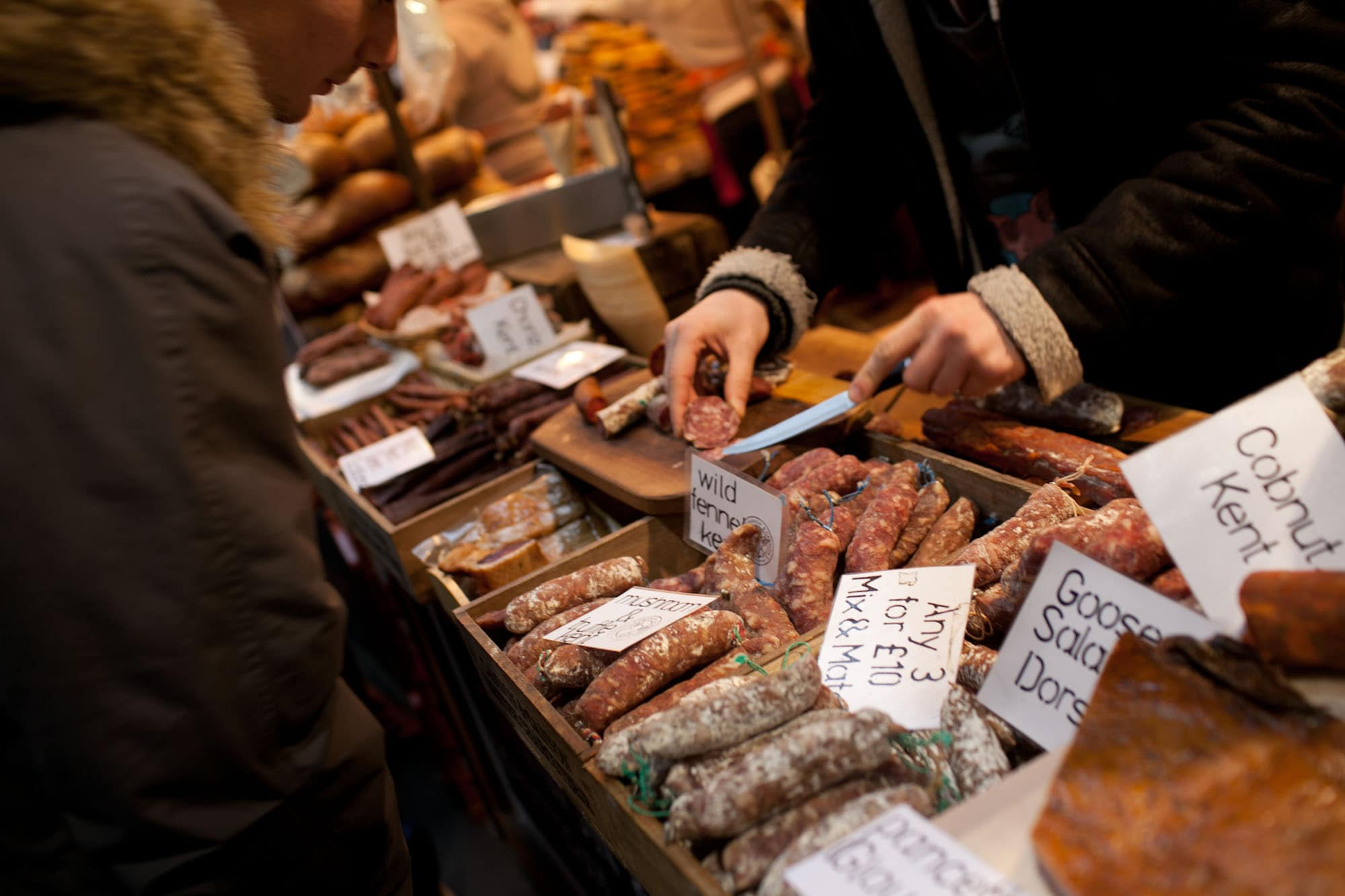 Sausages at Borough Market in London, England