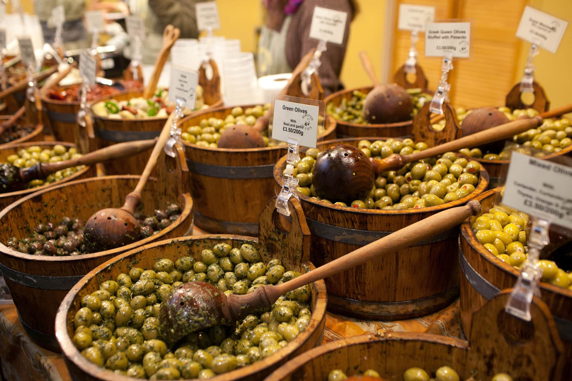 Olives at Borough Market in London, England