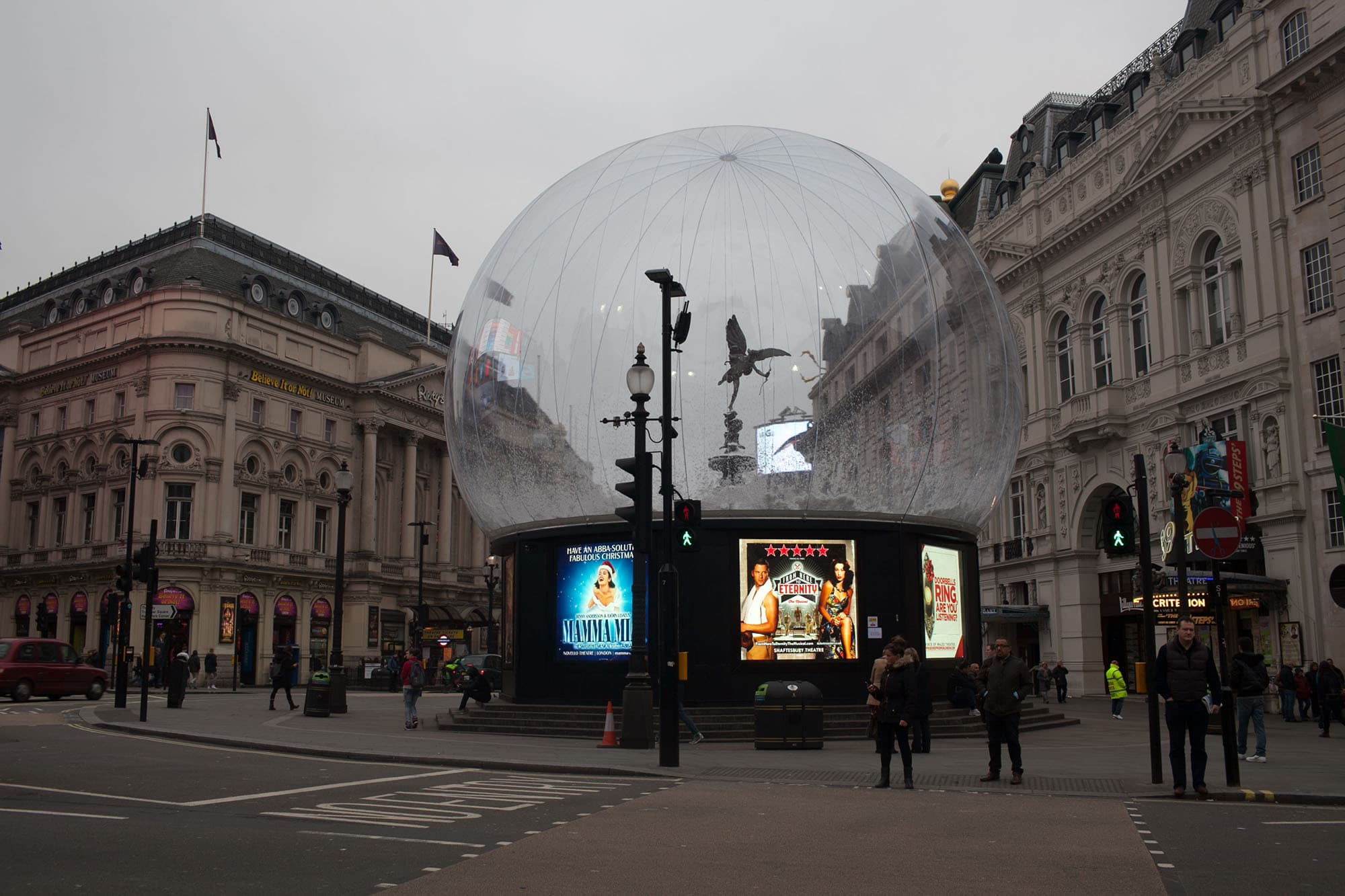 Snow Globe at Piccadilly Circus in London, England