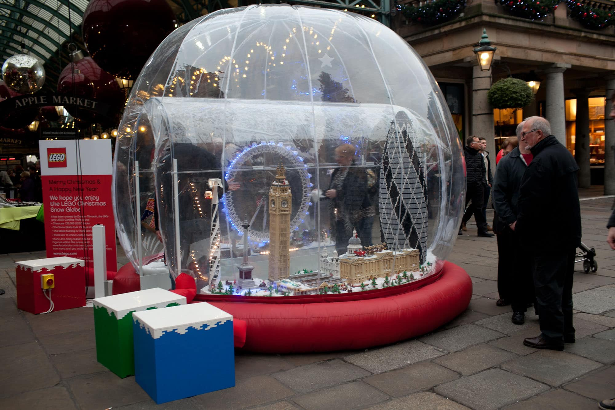 Lego Snow Globe at Covent Garden in London, England