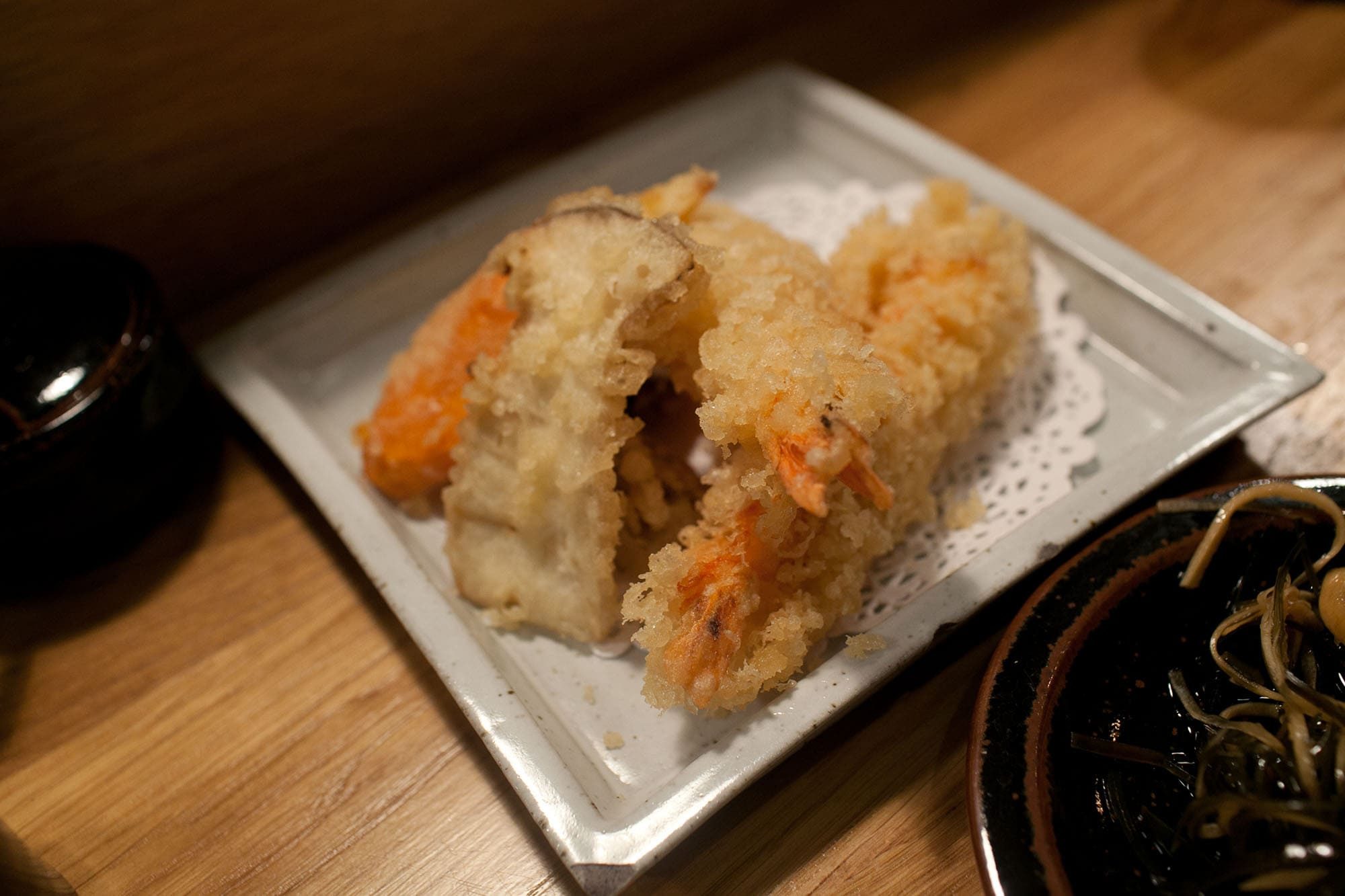 Shrimp and vegetable tempura at Koya Bar in Soho, London, England